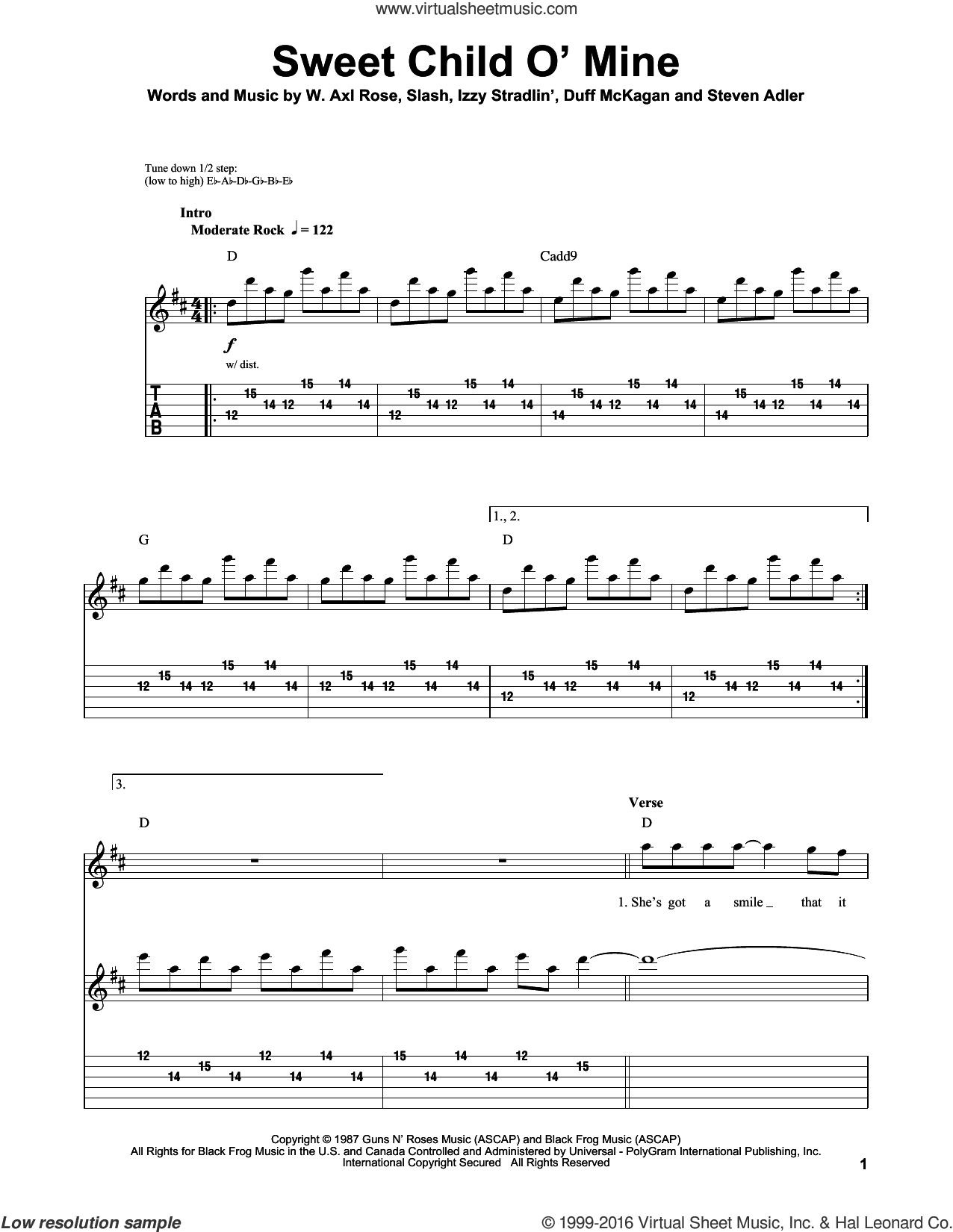 sweet child of mine music sheet pdf