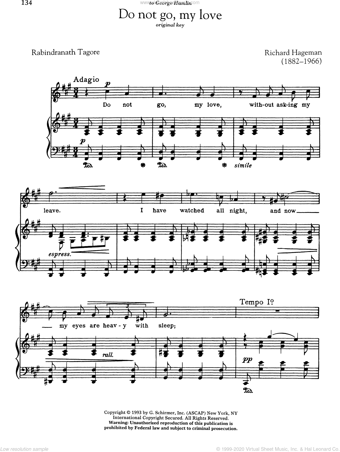 Do Not Go, My Love sheet music for voice and piano (High ) by Richard Hageman and Rabindranath Tagore. Score Image Preview.