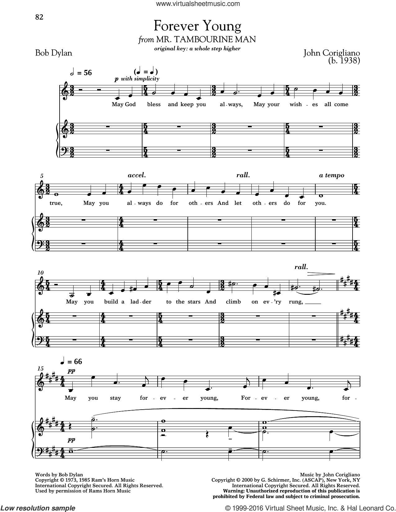 Forever Young sheet music for voice and piano (Low ) by Bob Dylan, Richard Walters and John Corigliano. Score Image Preview.