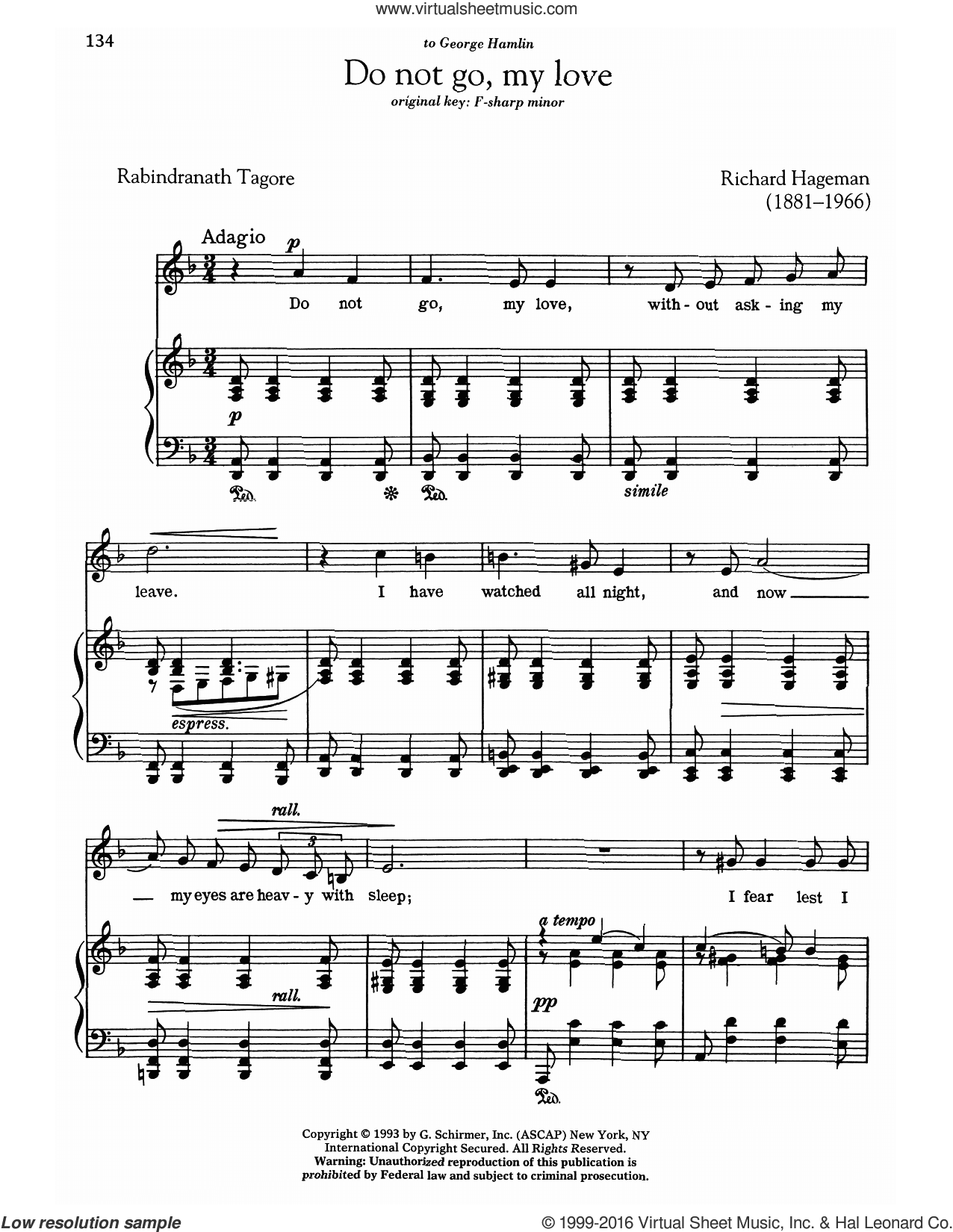 Do Not Go, My Love sheet music for voice and piano (Low ) by Richard Hageman and Rabindranath Tagore. Score Image Preview.