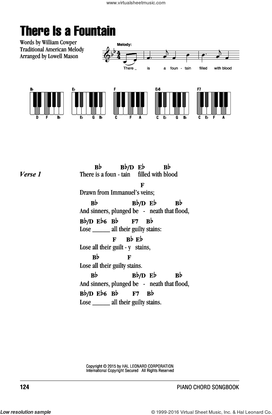 There Is A Fountain sheet music for piano solo (chords, lyrics, melody) by William Cowper, Lowell Mason and Miscellaneous, intermediate piano (chords, lyrics, melody). Score Image Preview.