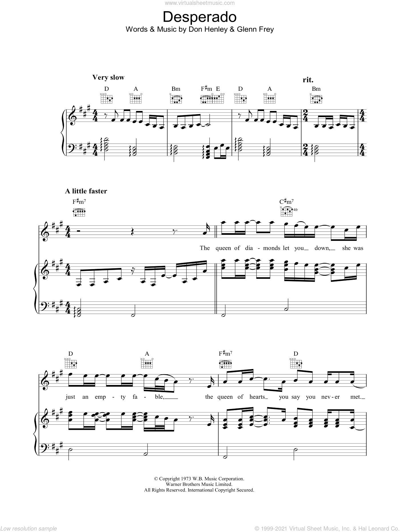 Desperado (Part II) sheet music for voice, piano or guitar by Eagles, Don Henley and Glenn Frey, intermediate voice, piano or guitar. Score Image Preview.