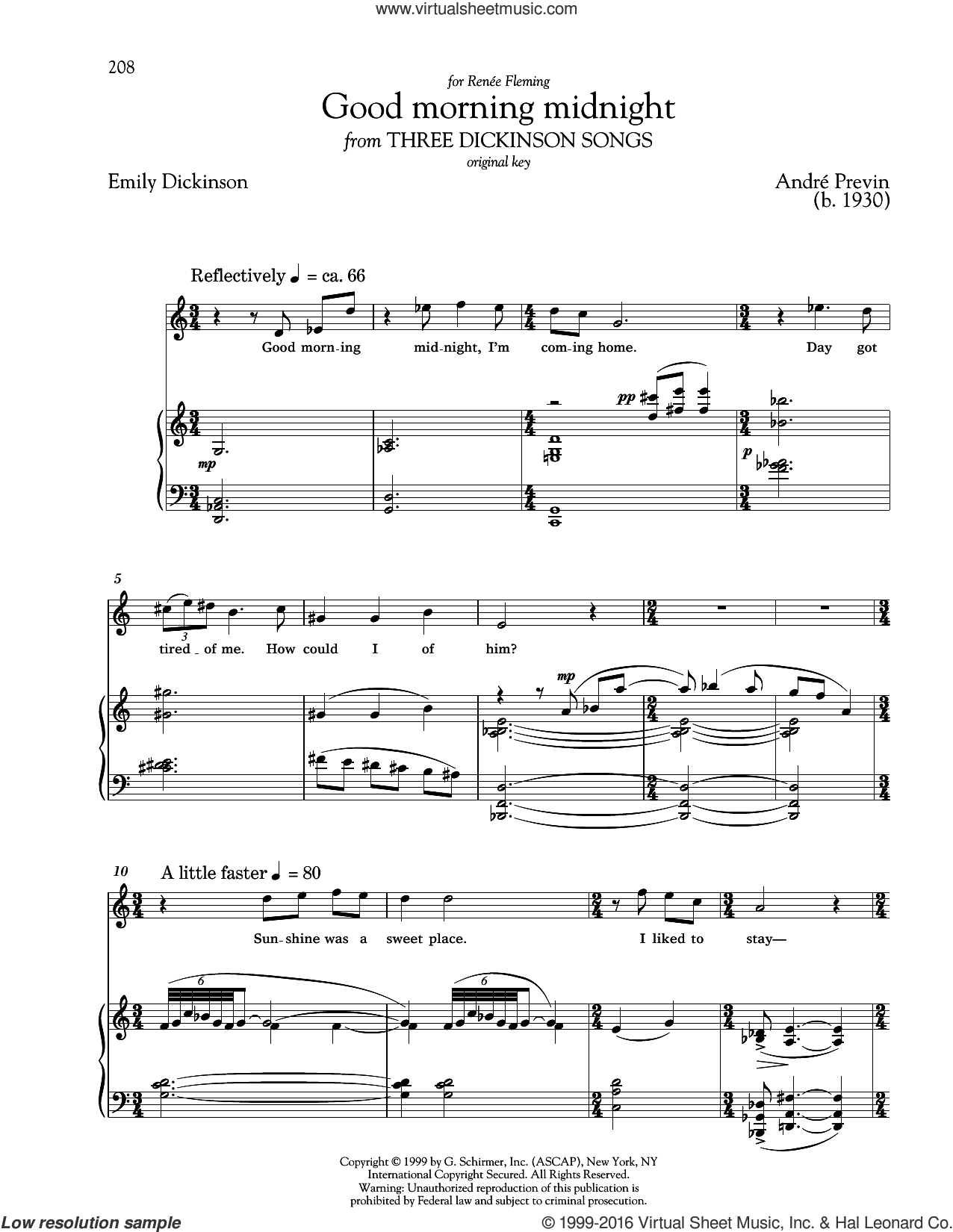 Good Morning Midnight sheet music for voice and piano (High Voice) by Andre Previn, Richard Walters and Emily Dickinson, classical score, intermediate skill level
