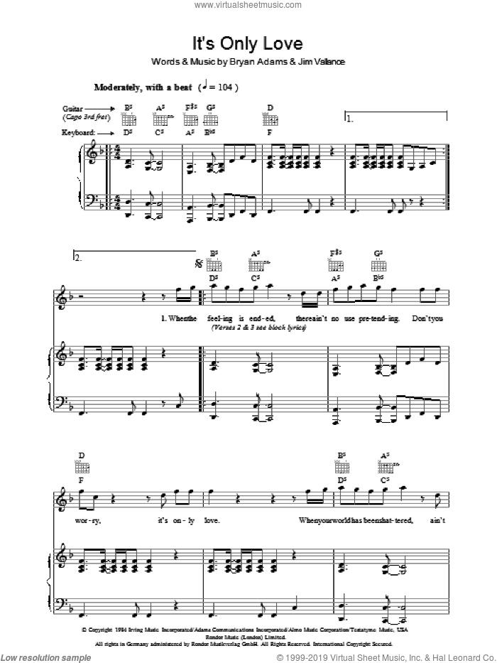 It's Only Love sheet music for voice, piano or guitar by Tina Turner, Bryan Adams and Jim Vallance, intermediate skill level