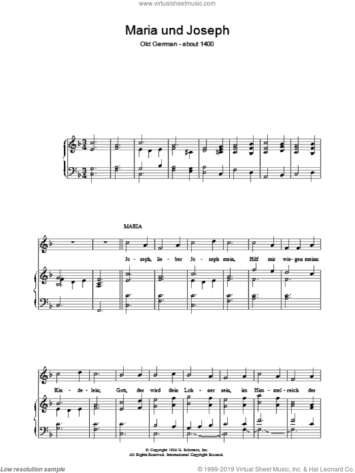 Maria Und Joseph sheet music for voice, piano or guitar. Score Image Preview.
