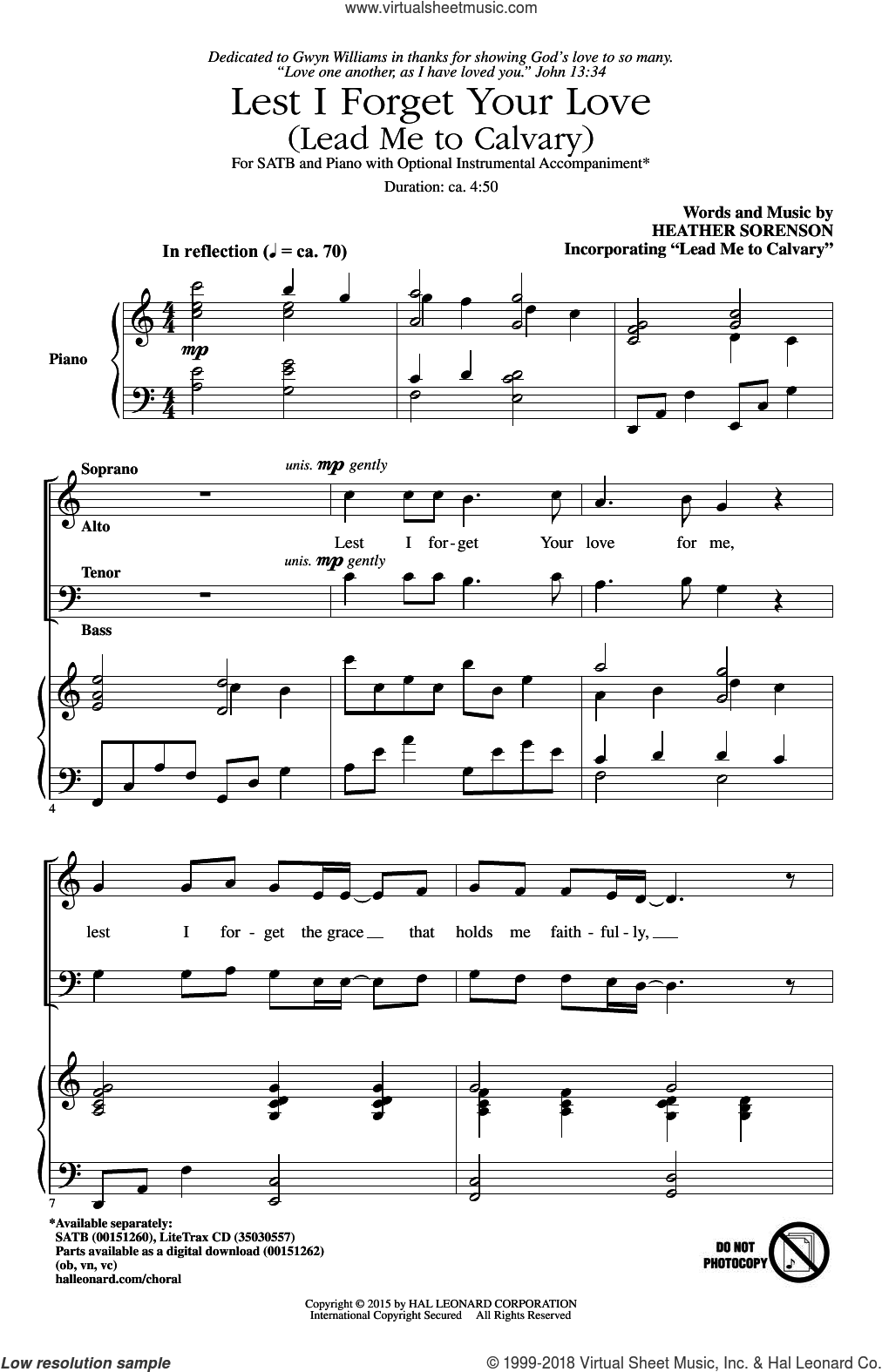 Lest I Forget Your Love (Lead Me To Calvary) sheet music for choir (SATB) by Heather Sorenson. Score Image Preview.
