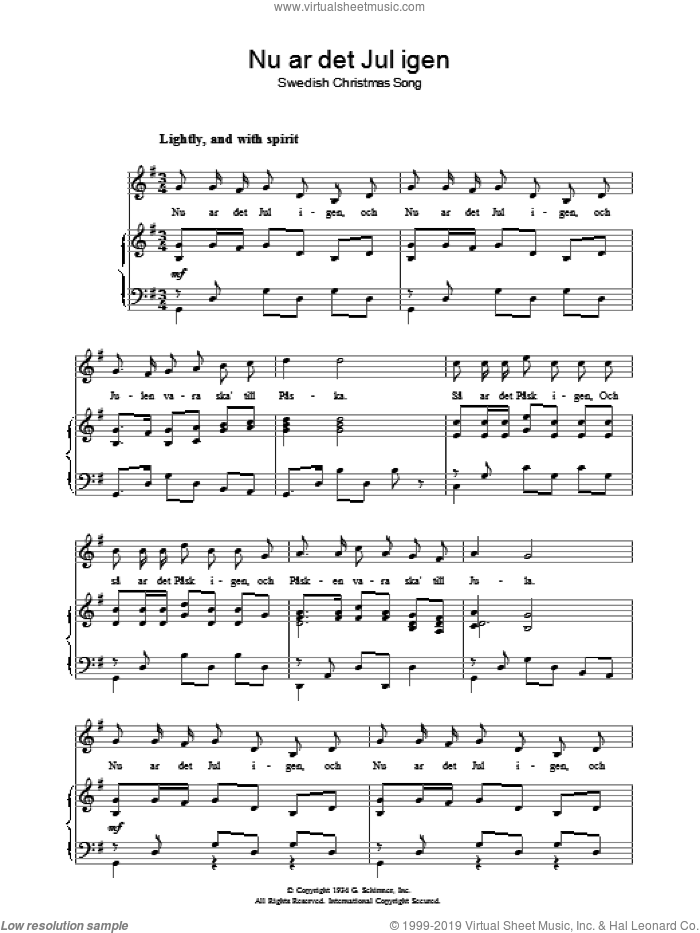 Nu A�r Det Jul Igen sheet music for voice, piano or guitar. Score Image Preview.