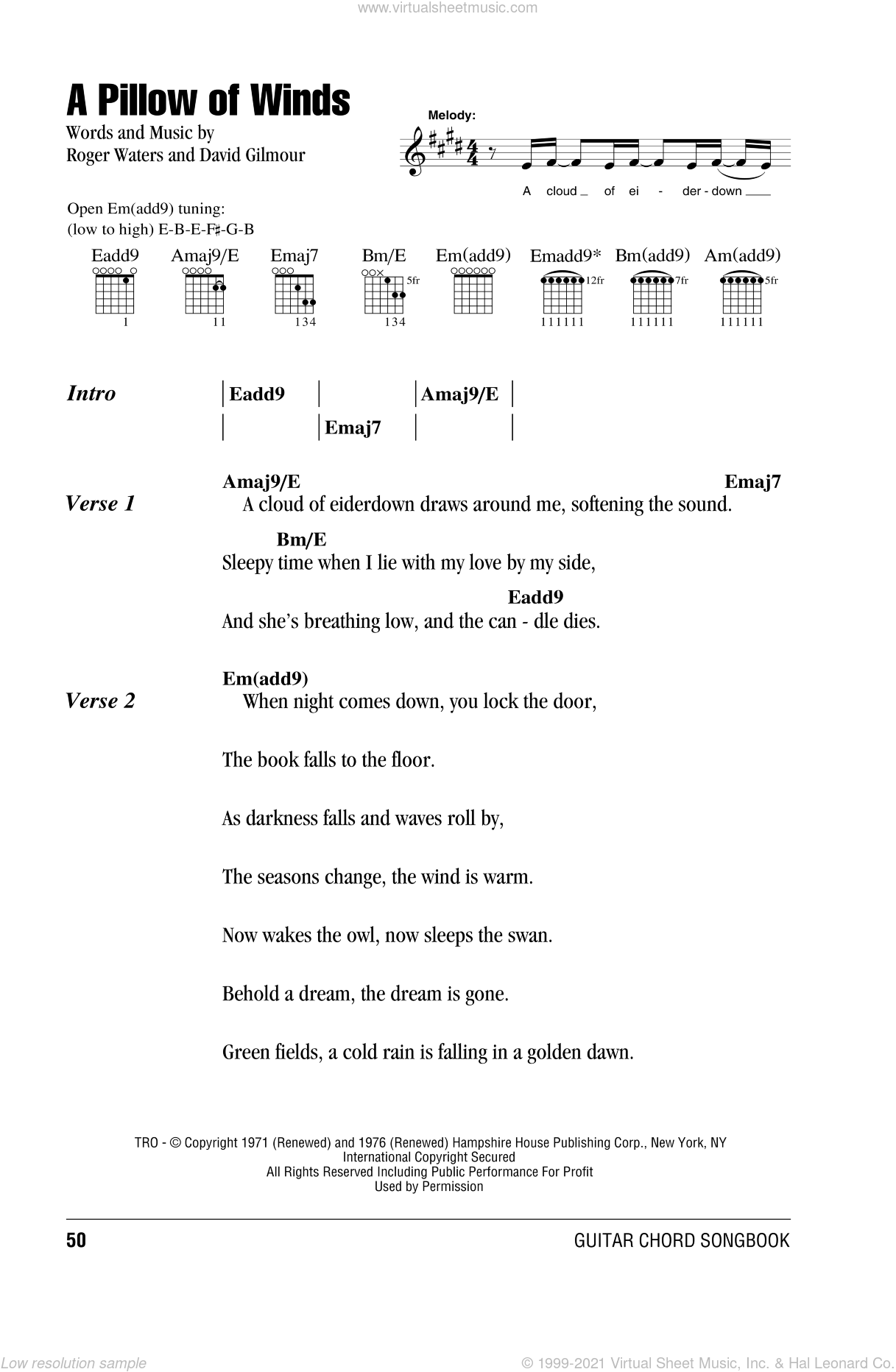 A Pillow Of Winds sheet music for guitar (chords) by Pink Floyd, David Gilmour and Roger Waters, intermediate skill level