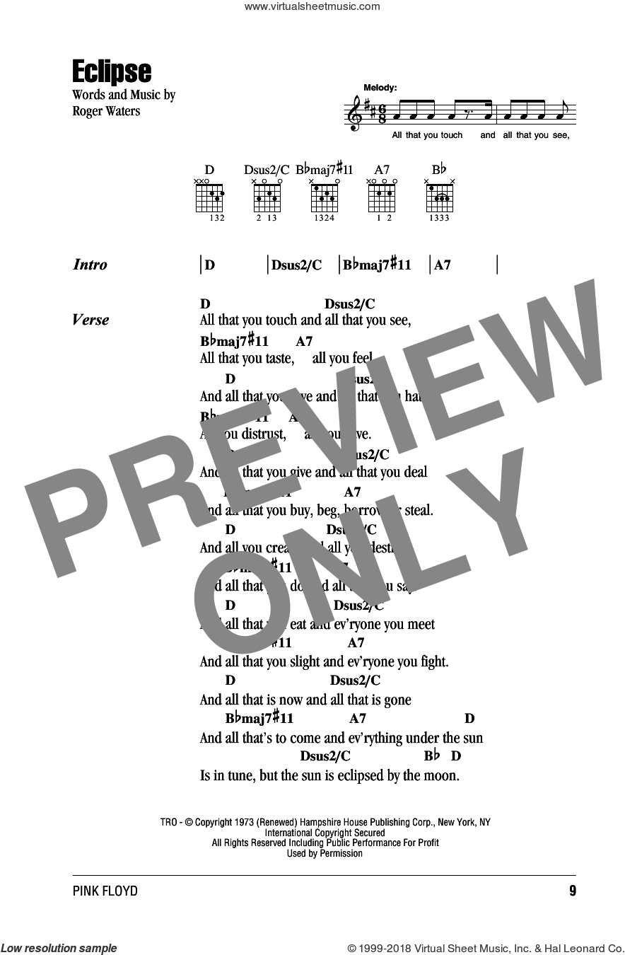 Eclipse sheet music for guitar (chords) by Pink Floyd and Roger Waters. Score Image Preview.