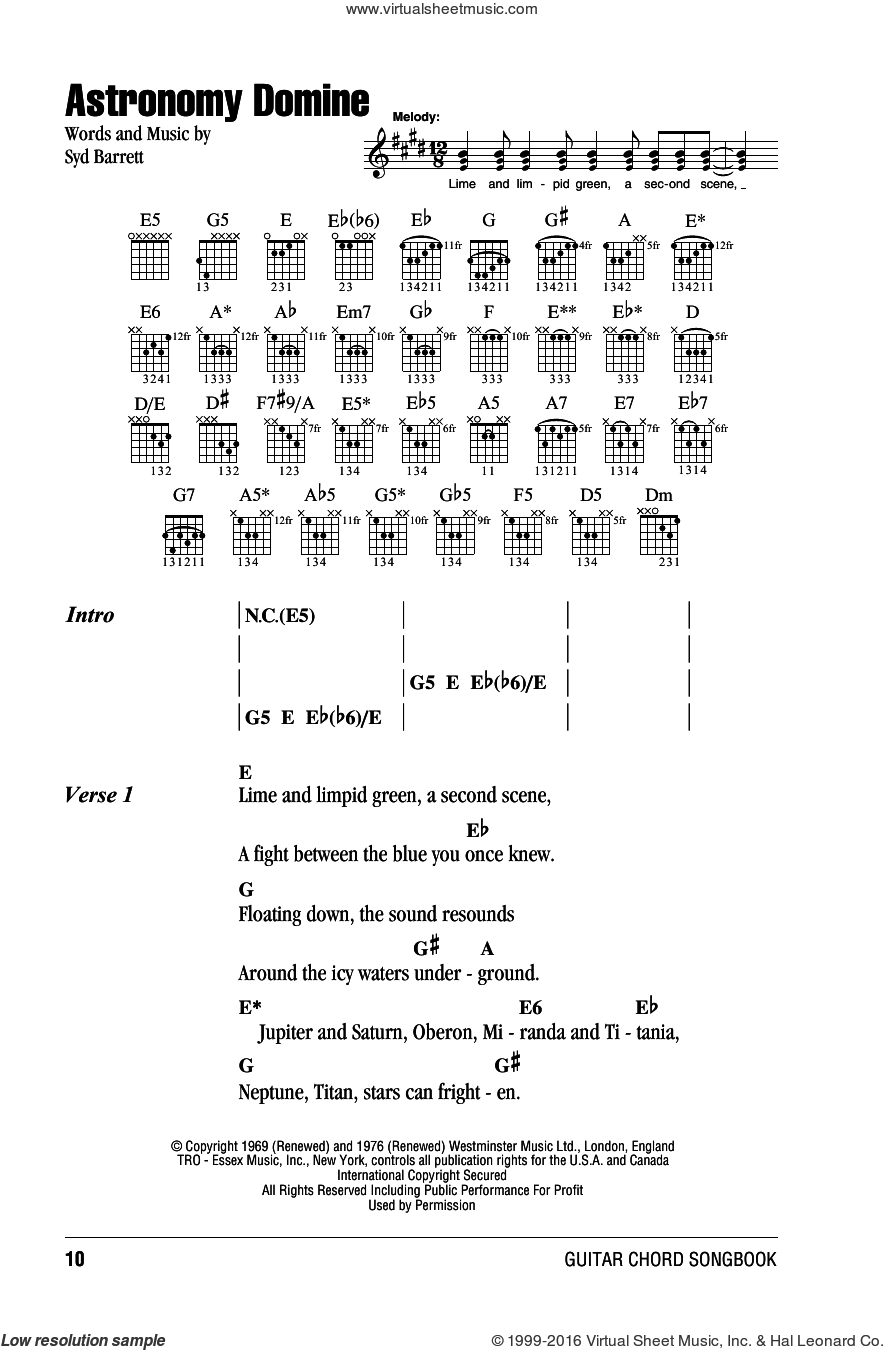 Astronomy Domine sheet music for guitar (chords) by Pink Floyd and Syd Barrett, intermediate guitar (chords). Score Image Preview.
