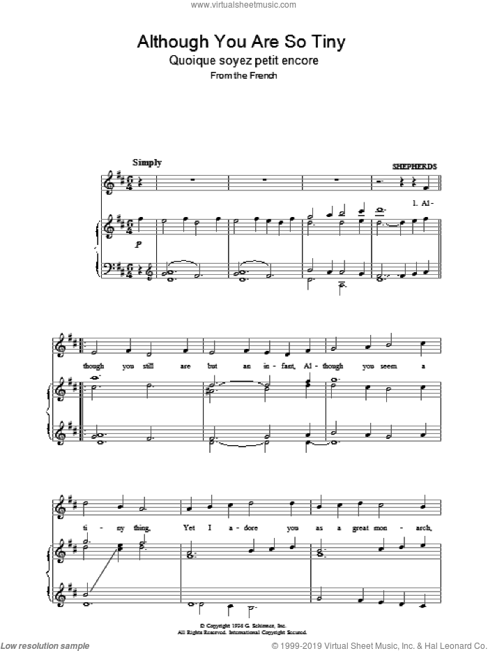 Although You Are So Tiny sheet music for voice, piano or guitar. Score Image Preview.