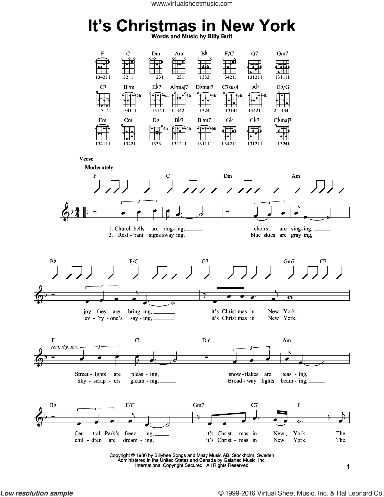 It's Christmas In New York sheet music for guitar solo (chords) by John Wesley Shipp. Score Image Preview.