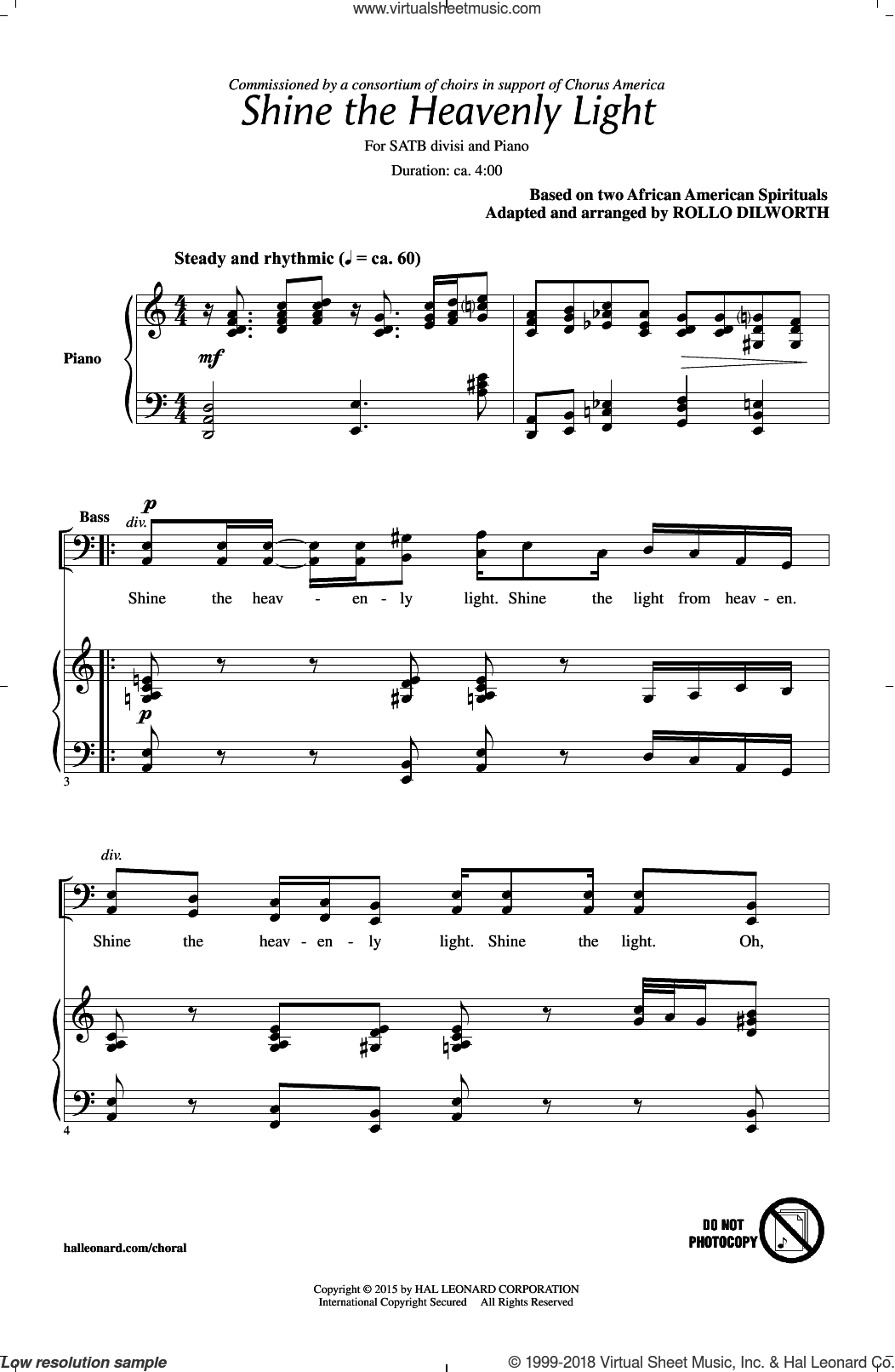 Hold Out Your Light sheet music for choir and piano (SATB) by Rollo Dilworth and Miscellaneous. Score Image Preview.