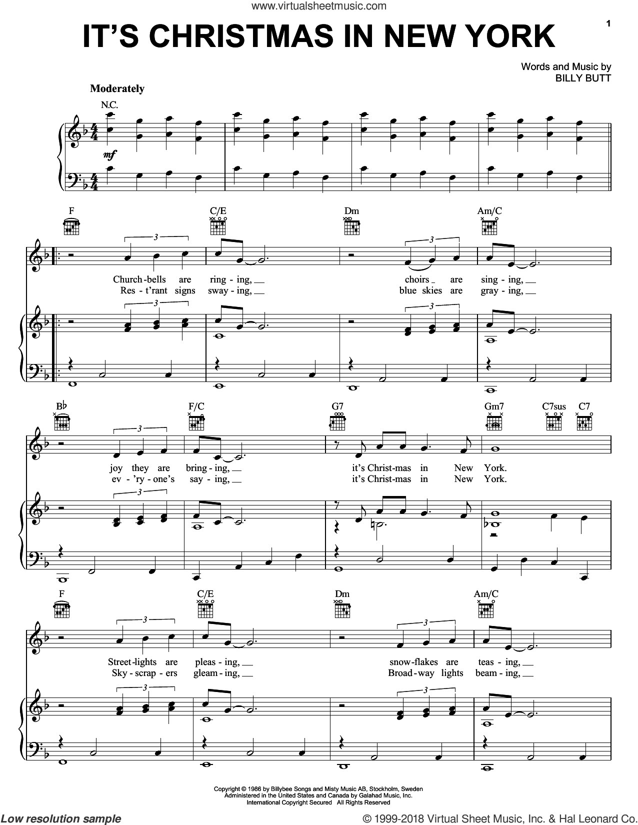 It's Christmas In New York sheet music for voice, piano or guitar by John Wesley Shipp and Billy Butt, intermediate skill level