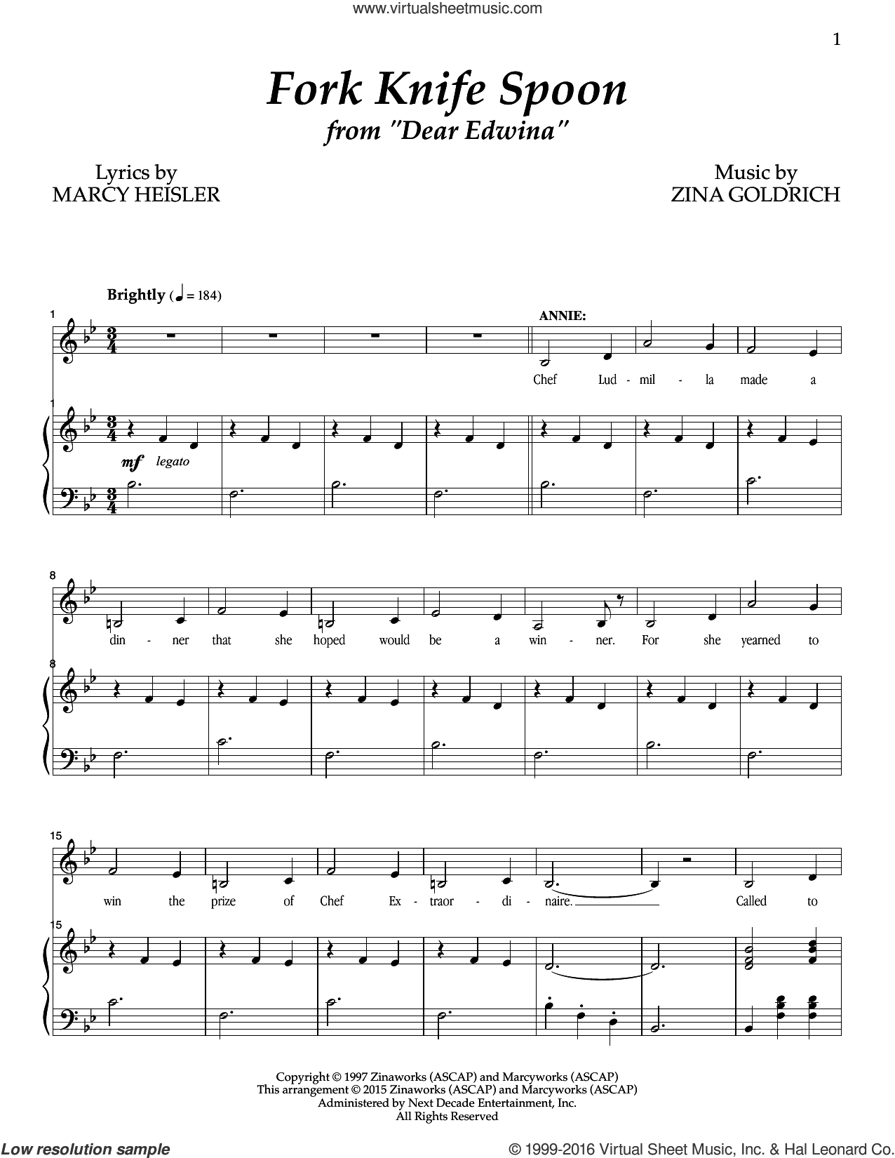Fork Knife Spoon sheet music for voice and piano by Zina Goldrich, Goldrich & Heisler and Marcy Heisler. Score Image Preview.