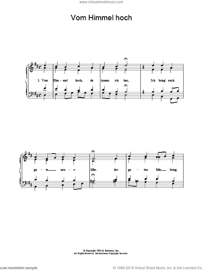 Vom Himmel Hoch sheet music for voice, piano or guitar. Score Image Preview.