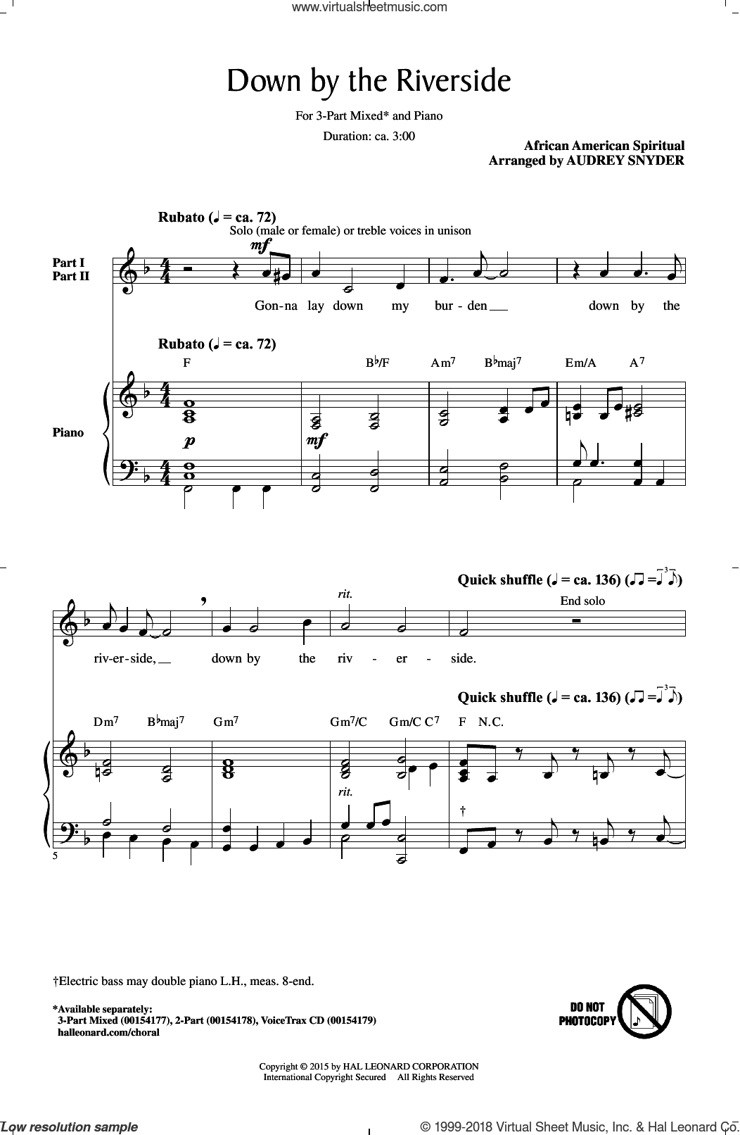 Down By The Riverside sheet music for choir (3-Part Mixed) by Audrey Snyder and Miscellaneous, intermediate skill level