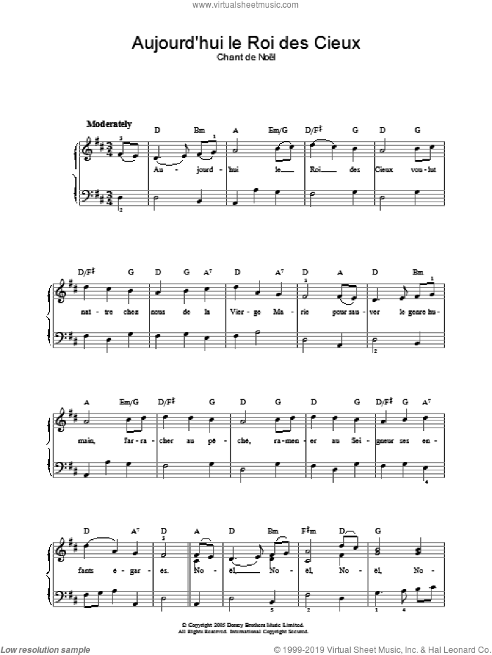 Aujourd'hui Le Roi Des Cieux sheet music for voice, piano or guitar. Score Image Preview.