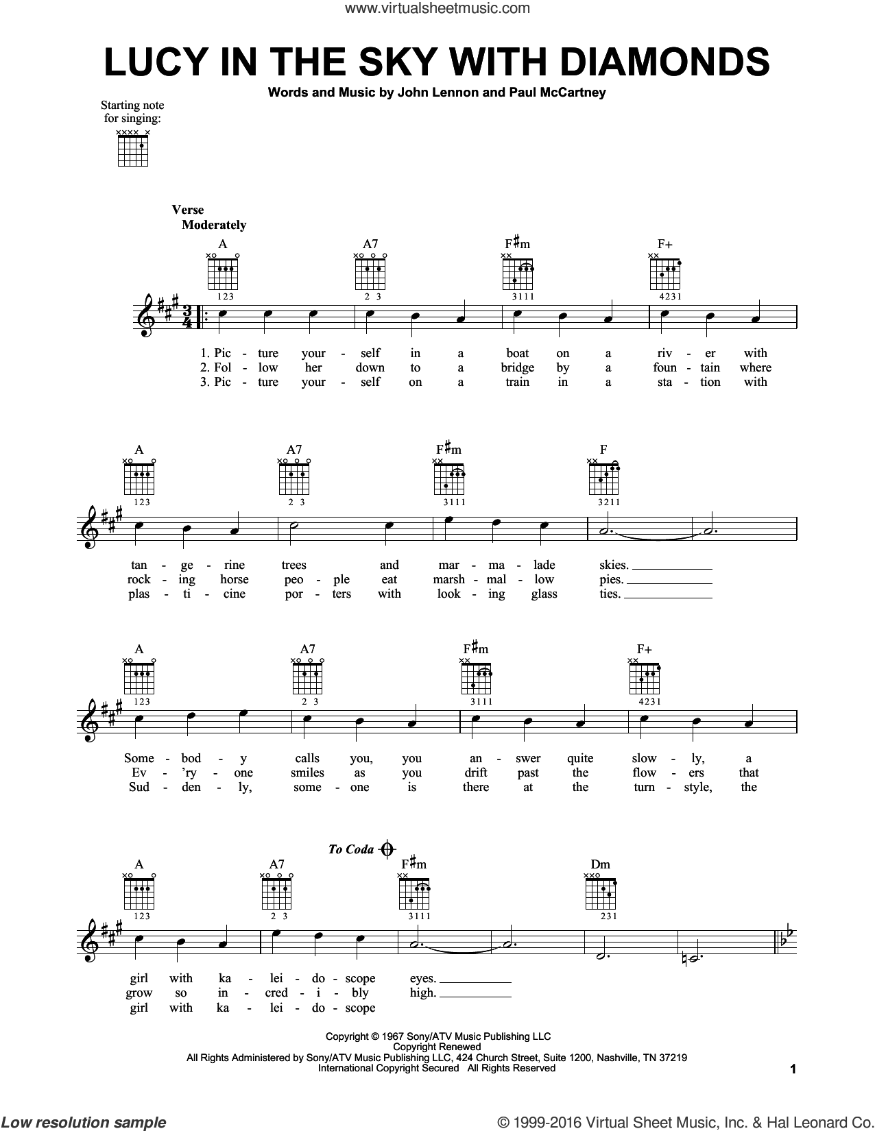 Lucy In The Sky With Diamonds sheet music for guitar solo (chords) by Paul McCartney, Elton John, The Beatles and John Lennon. Score Image Preview.