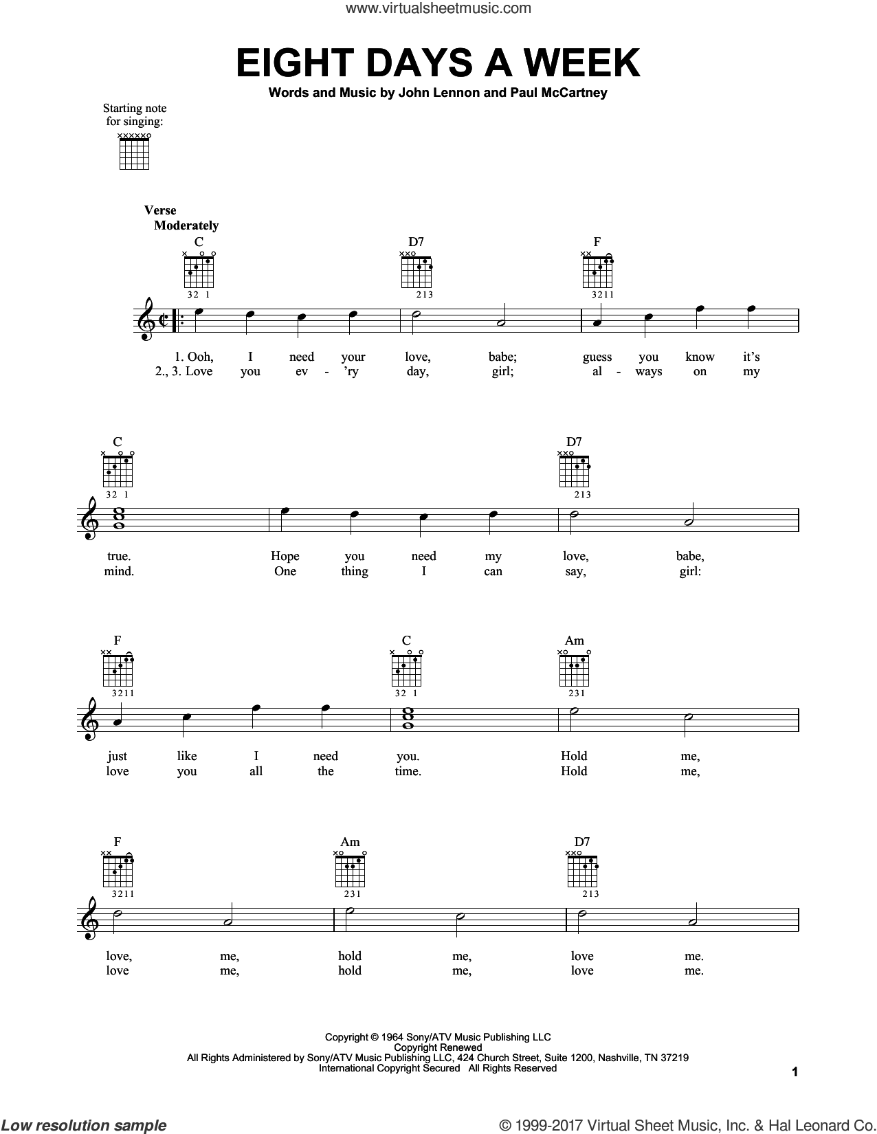 Eight Days A Week sheet music for guitar solo (chords) by The Beatles, John Lennon and Paul McCartney, easy guitar (chords)