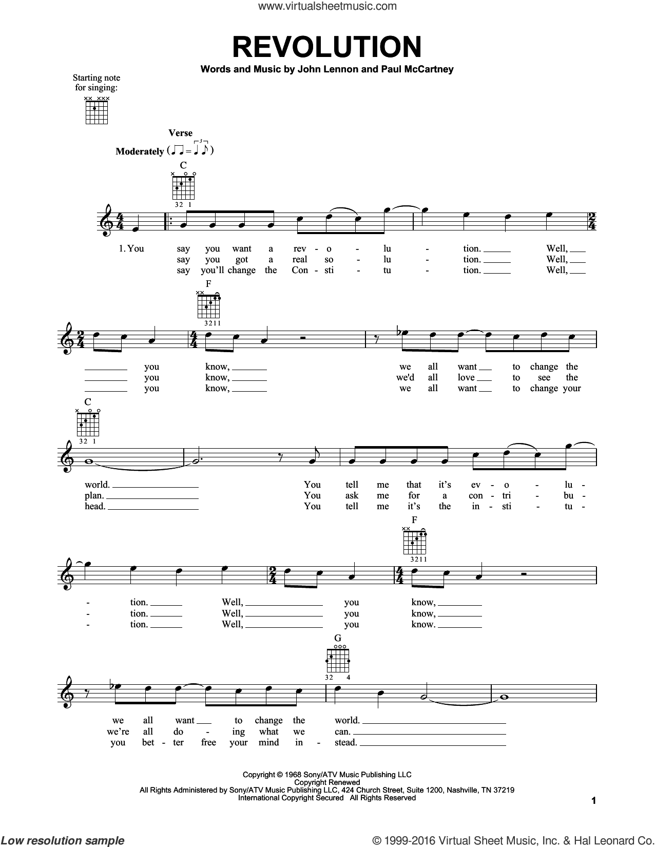 Revolution sheet music for guitar solo (chords) by The Beatles, John Lennon and Paul McCartney, easy guitar (chords). Score Image Preview.