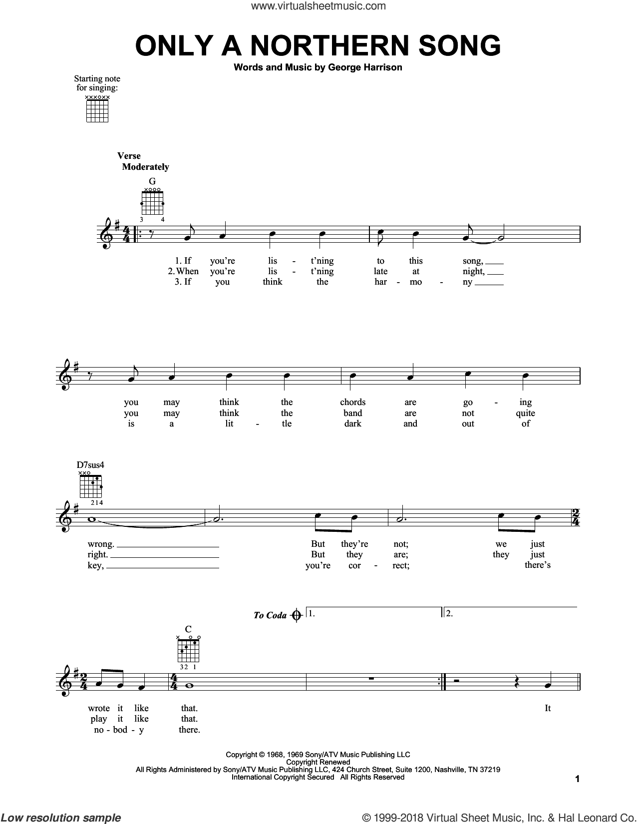 Only A Northern Song sheet music for guitar solo (chords) by George Harrison and The Beatles. Score Image Preview.