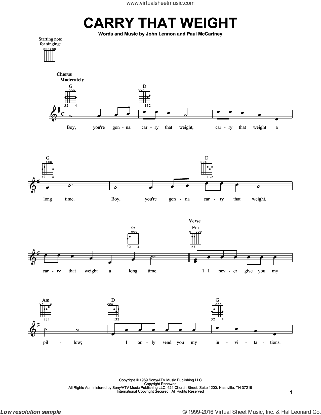 Carry That Weight sheet music for guitar solo (chords) by The Beatles, John Lennon and Paul McCartney, easy guitar (chords)