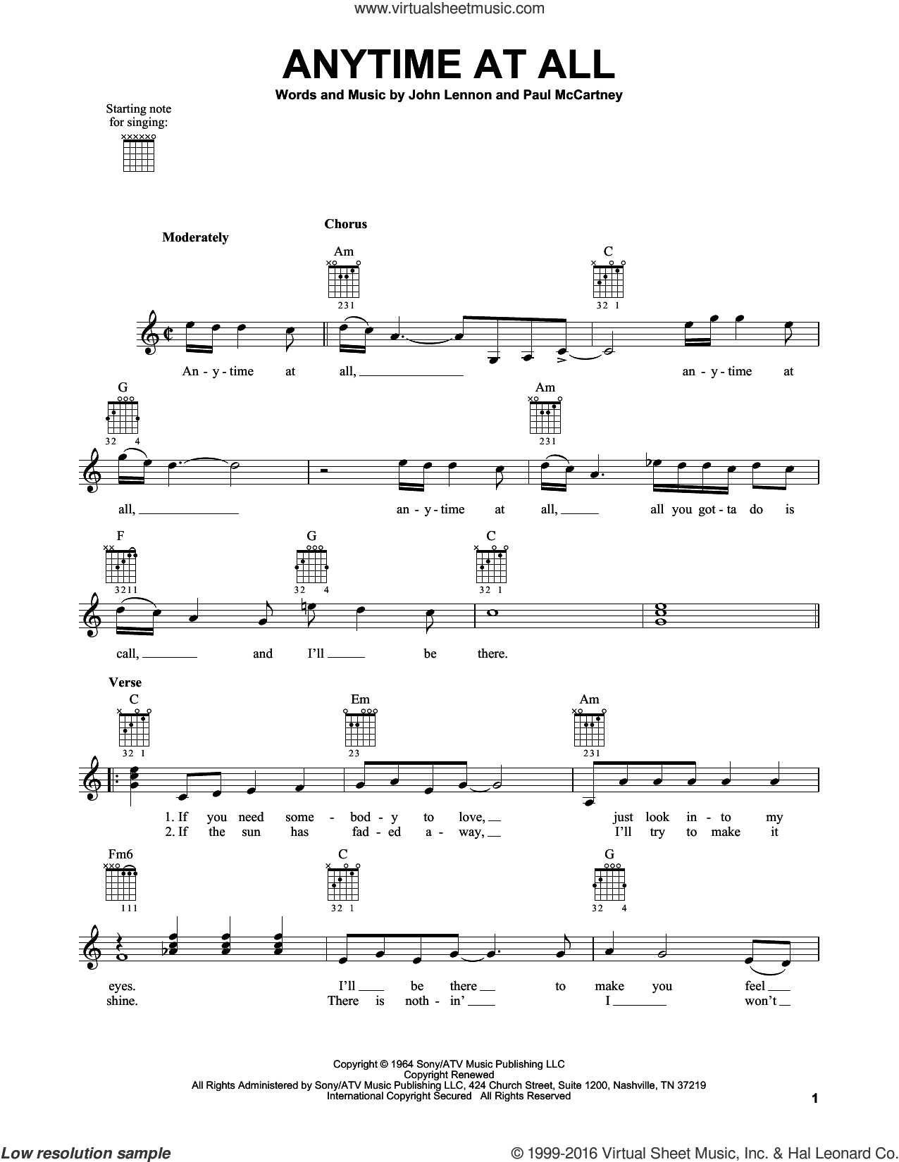 Anytime At All sheet music for guitar solo (chords) by The Beatles, John Lennon and Paul McCartney. Score Image Preview.