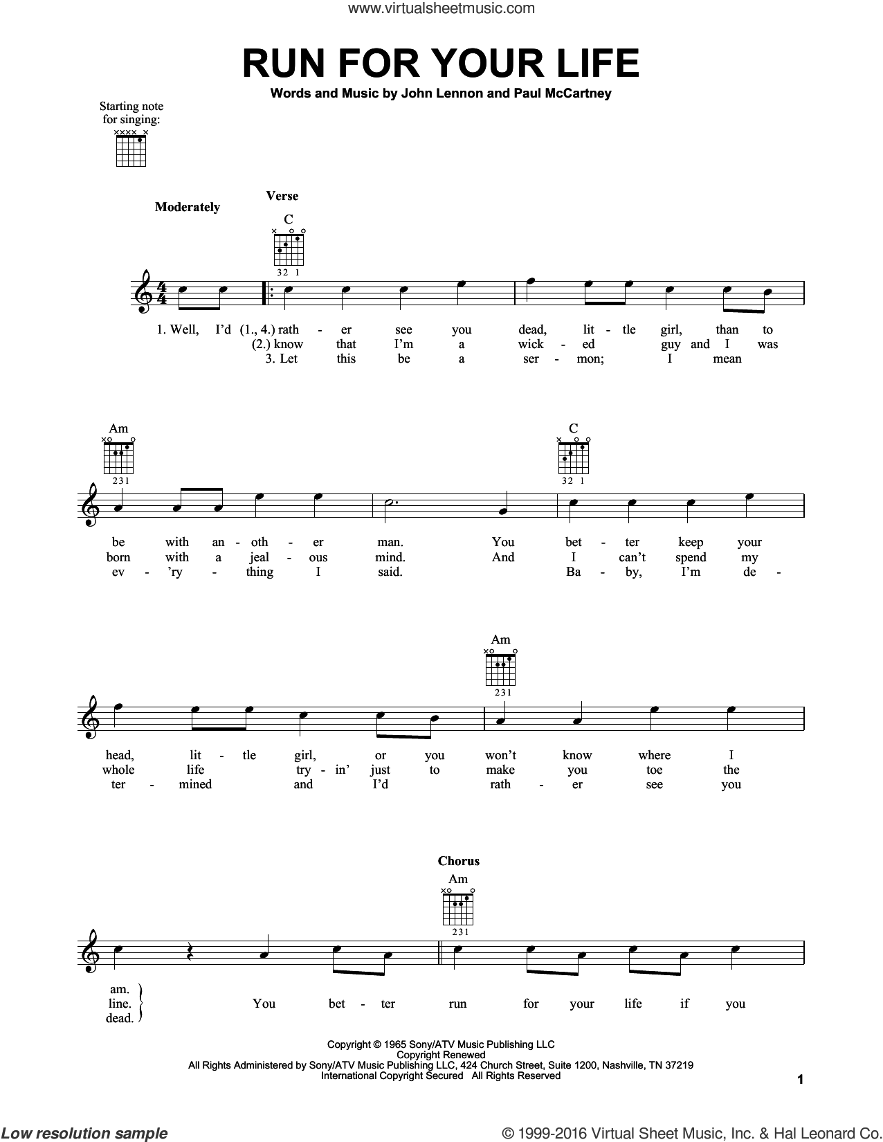 Run For Your Life sheet music for guitar solo (chords) by The Beatles, John Lennon and Paul McCartney, easy guitar (chords)