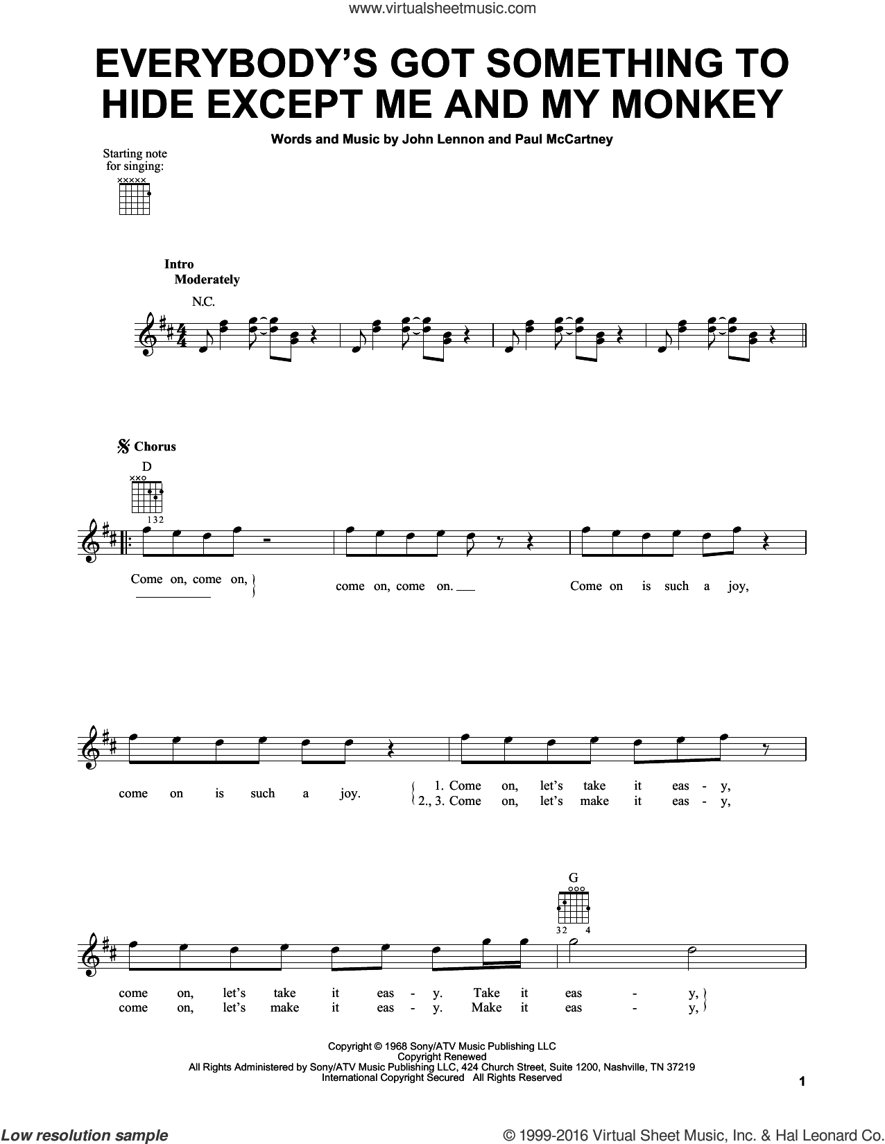Everybody's Got Something To Hide Except Me And My Monkey sheet music for guitar solo (chords) by The Beatles, John Lennon and Paul McCartney, easy guitar (chords)
