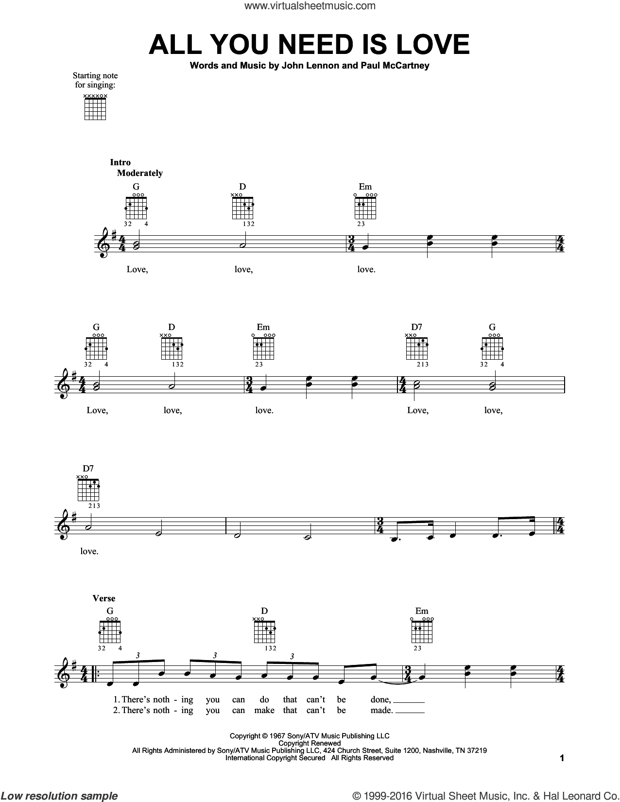 All You Need Is Love sheet music for guitar solo (chords) by The Beatles, John Lennon and Paul McCartney, easy guitar (chords). Score Image Preview.