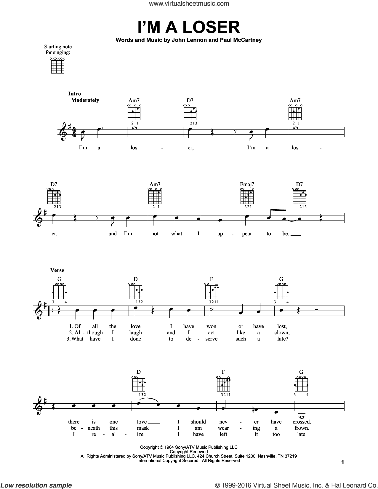 I'm A Loser sheet music for guitar solo (chords) by Paul McCartney