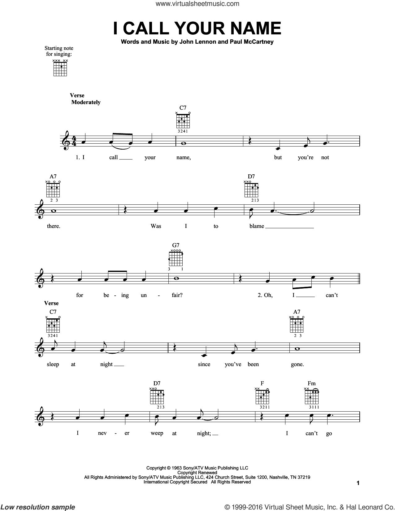 I Call Your Name sheet music for guitar solo (chords) by Paul McCartney, The Beatles and John Lennon. Score Image Preview.