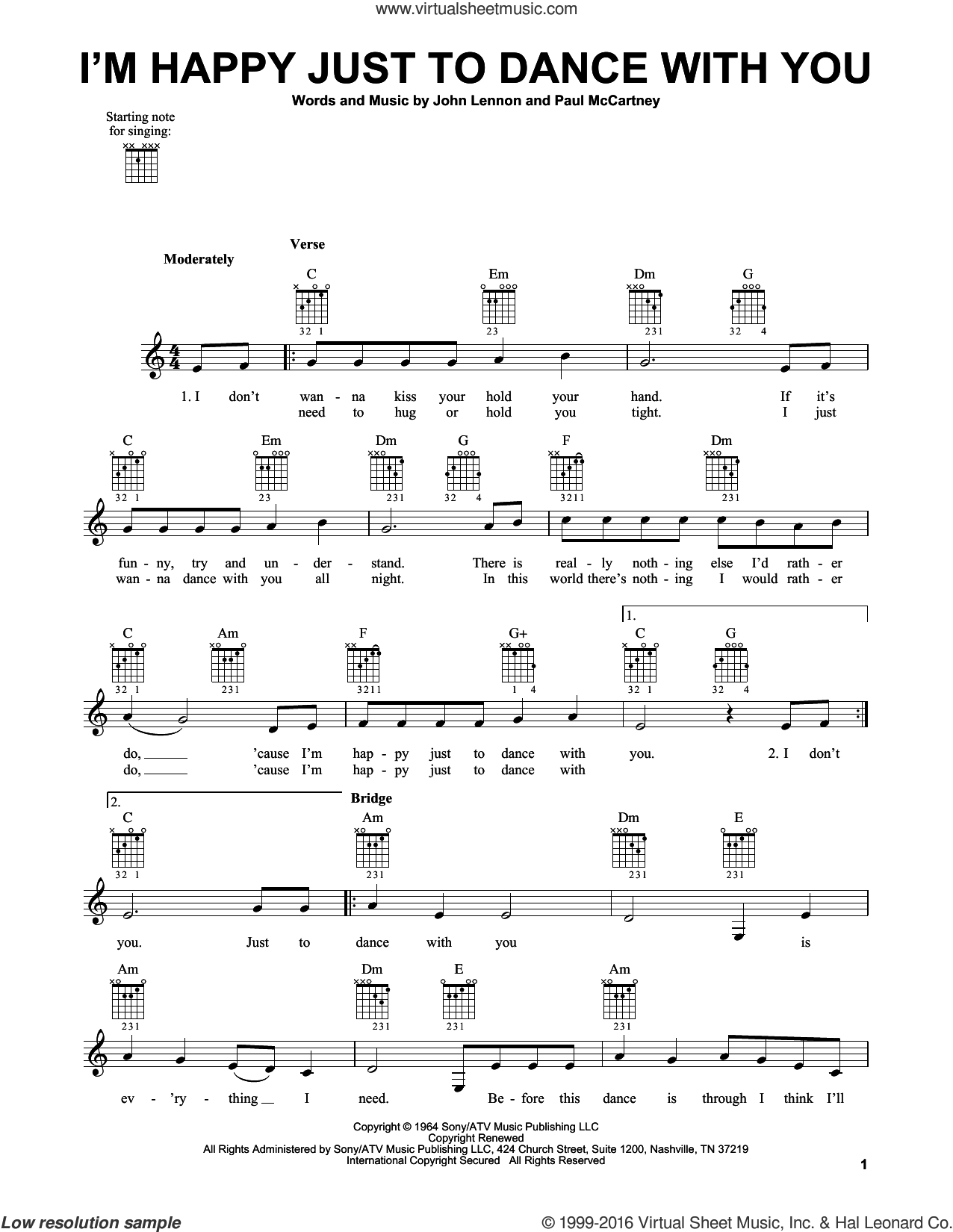 I'm Happy Just To Dance With You sheet music for guitar solo (chords) by The Beatles, John Lennon and Paul McCartney. Score Image Preview.
