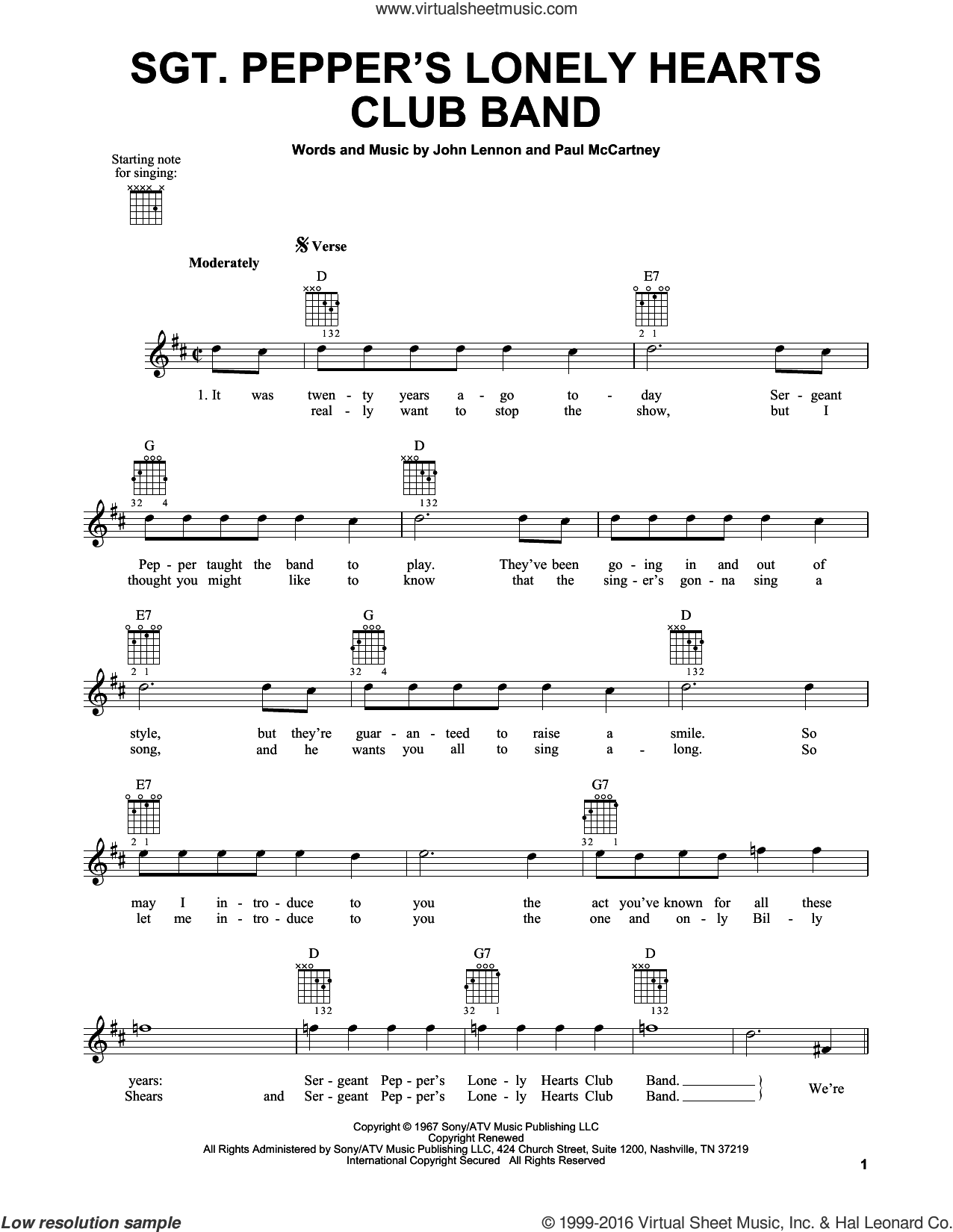 Sgt. Pepper's Lonely Hearts Club Band sheet music for guitar solo (chords) by Paul McCartney, The Beatles and John Lennon. Score Image Preview.