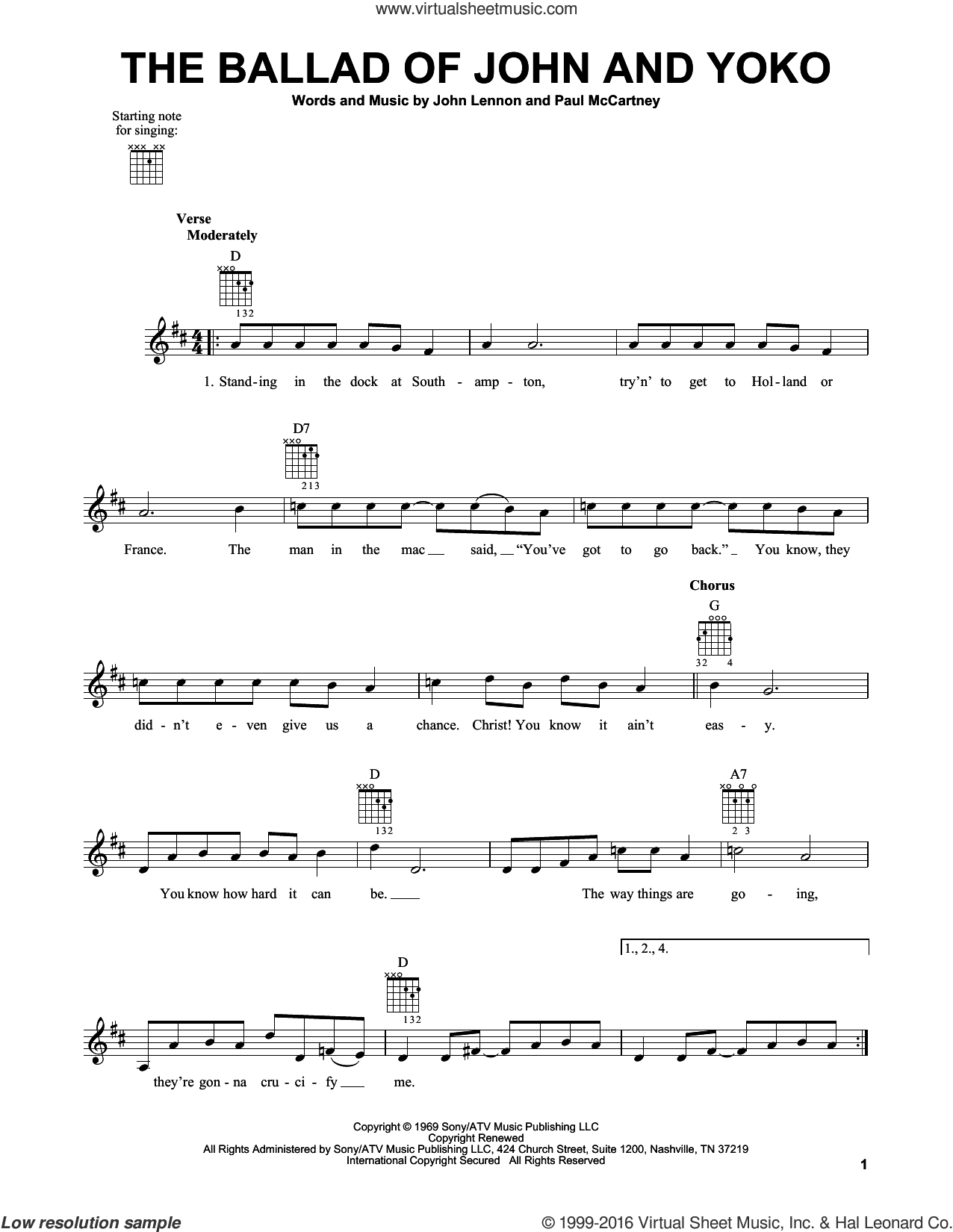 The Ballad Of John And Yoko sheet music for guitar solo (chords) by The Beatles, John Lennon and Paul McCartney, easy guitar (chords)
