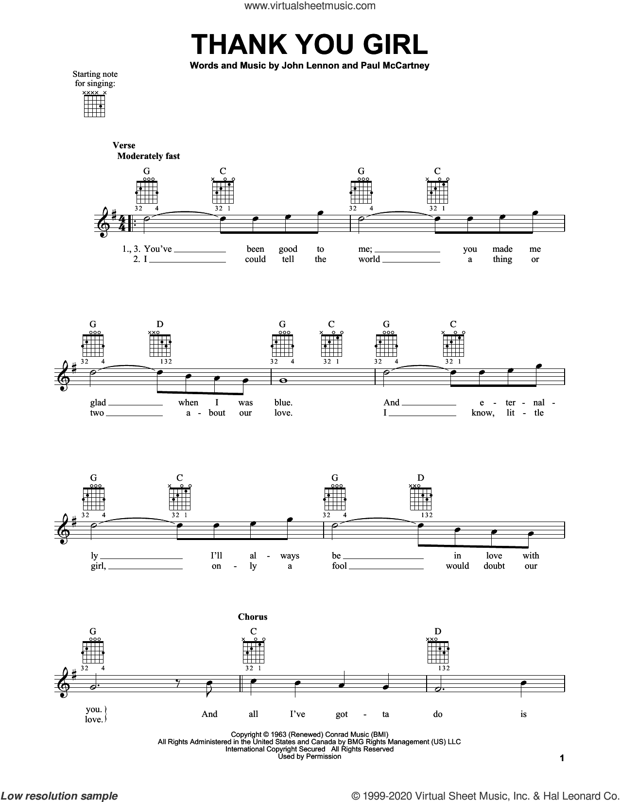 Thank You Girl sheet music for guitar solo (chords) by The Beatles, John Lennon and Paul McCartney, easy guitar (chords)
