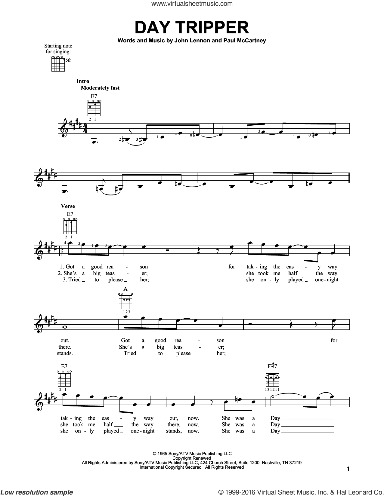 Day Tripper sheet music for guitar solo (chords) by Paul McCartney, The Beatles and John Lennon. Score Image Preview.