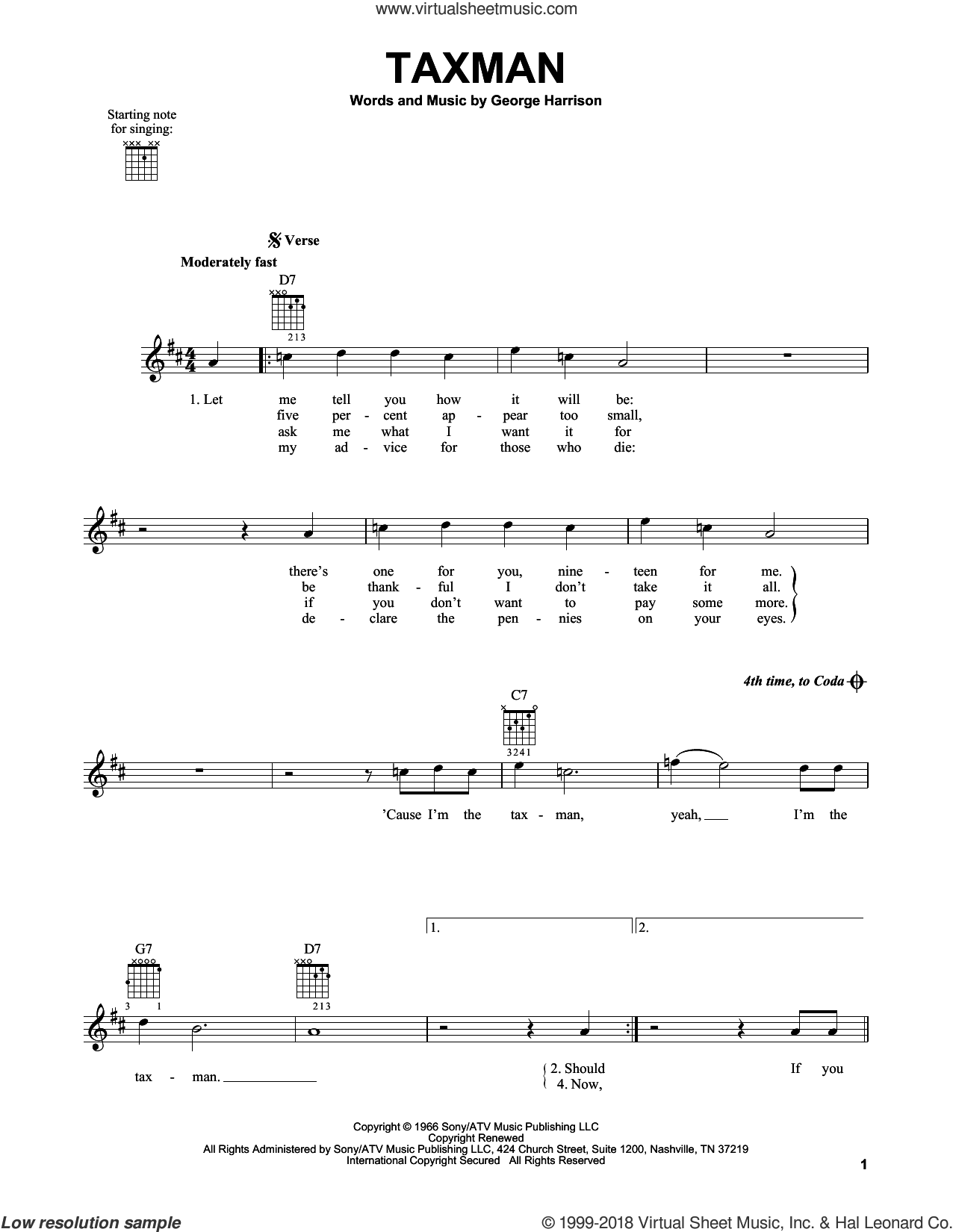 Taxman sheet music for guitar solo (chords) by The Beatles and George Harrison, easy guitar (chords). Score Image Preview.