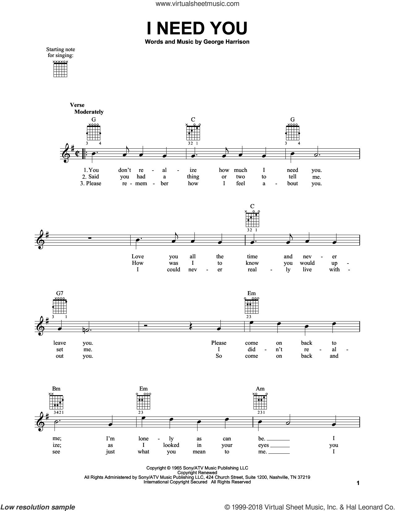 I Need You sheet music for guitar solo (chords) by The Beatles and George Harrison, easy guitar (chords). Score Image Preview.
