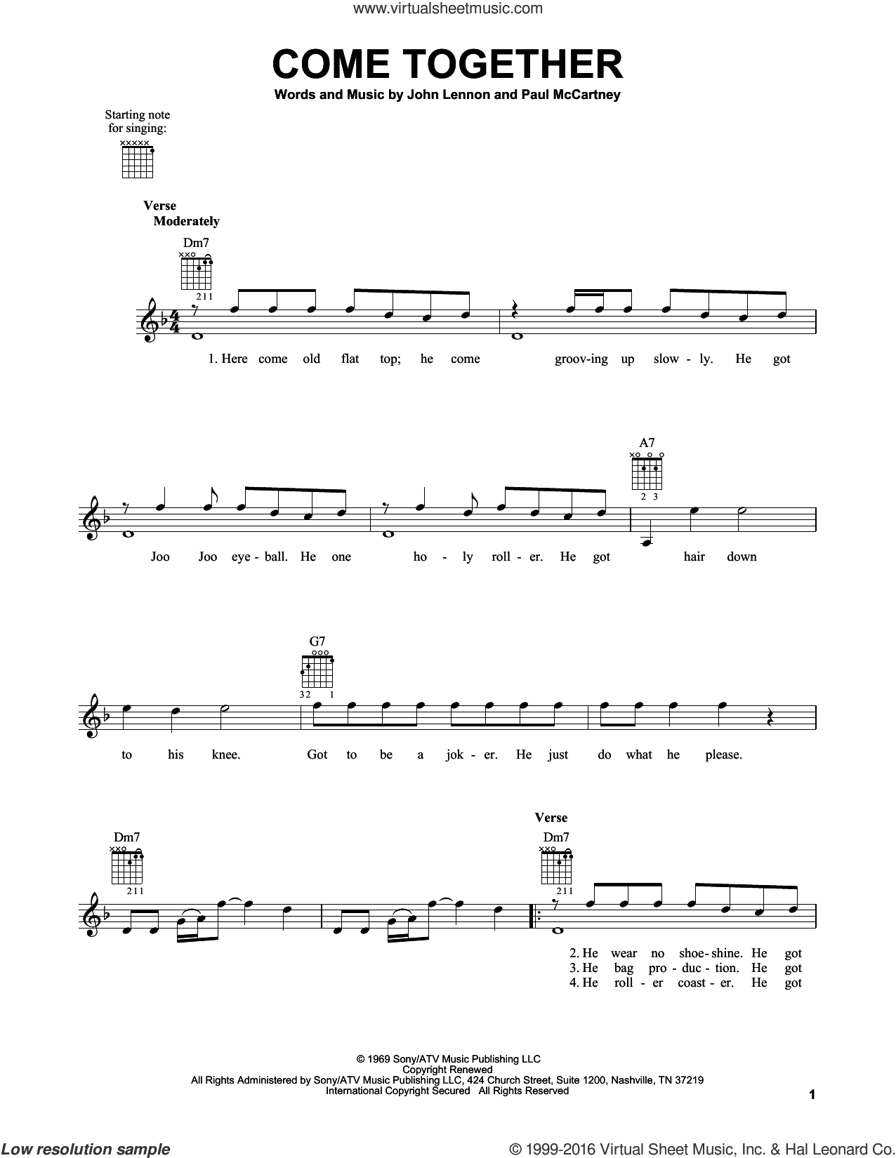 Come Together sheet music for guitar solo (chords) by The Beatles, Aerosmith, John Lennon and Paul McCartney, easy guitar (chords)