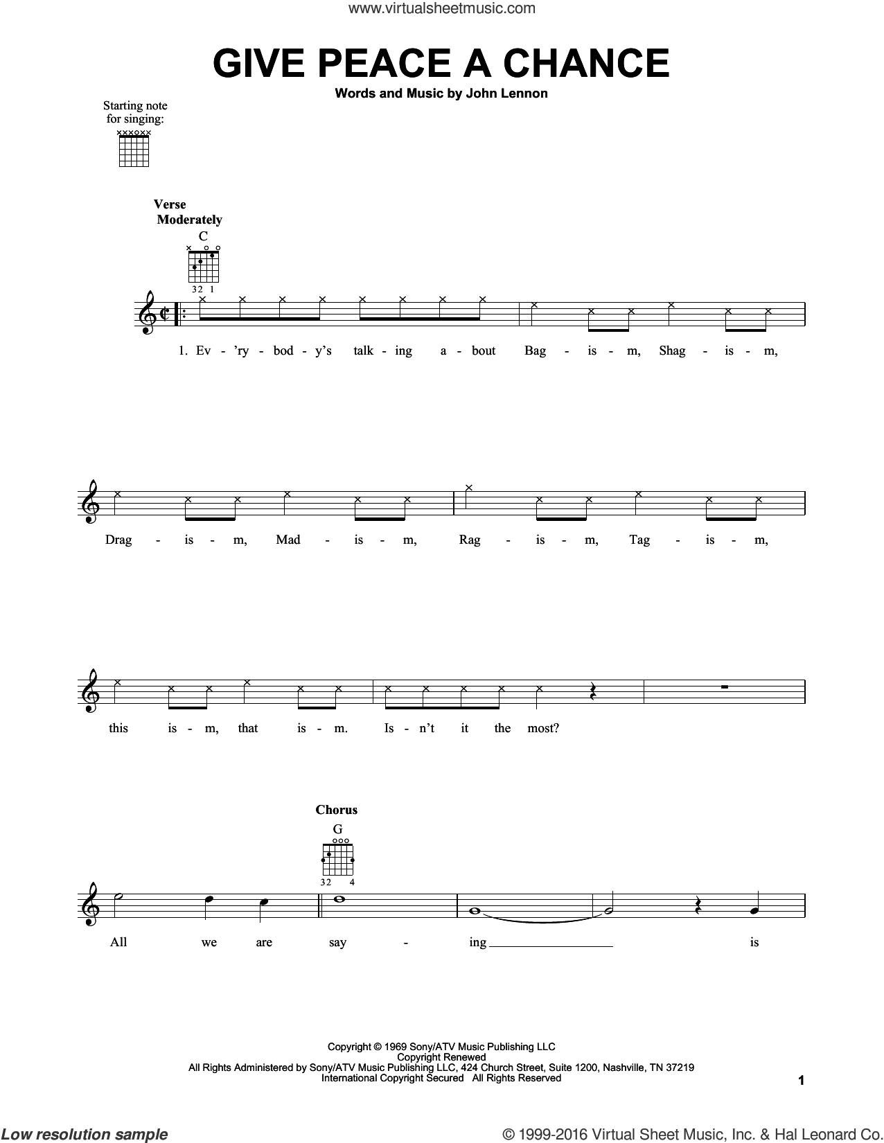 Give Peace A Chance sheet music for guitar solo (chords) by The Beatles and John Lennon. Score Image Preview.