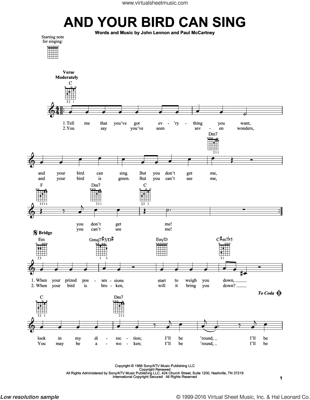 And Your Bird Can Sing sheet music for guitar solo (chords) by Paul McCartney, The Beatles and John Lennon. Score Image Preview.