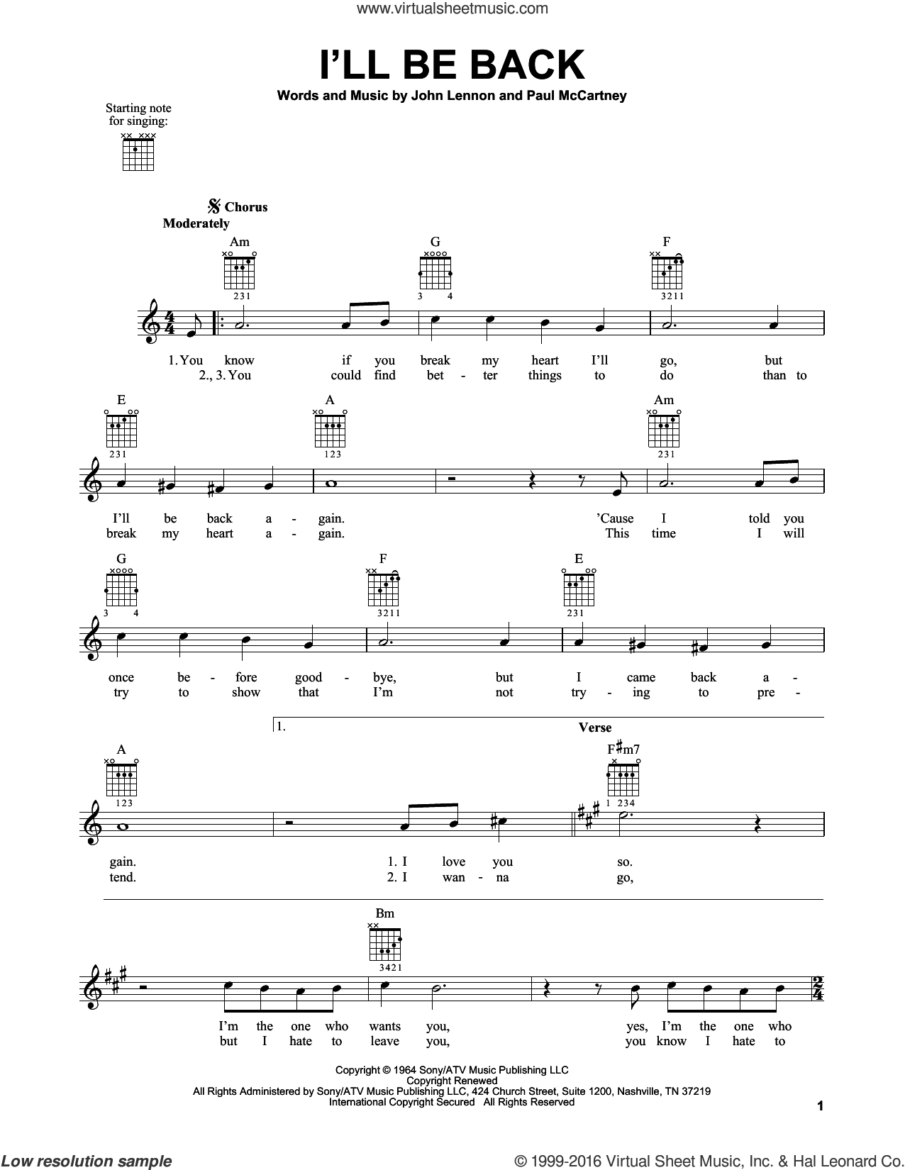 I'll Be Back sheet music for guitar solo (chords) by Paul McCartney, The Beatles and John Lennon. Score Image Preview.