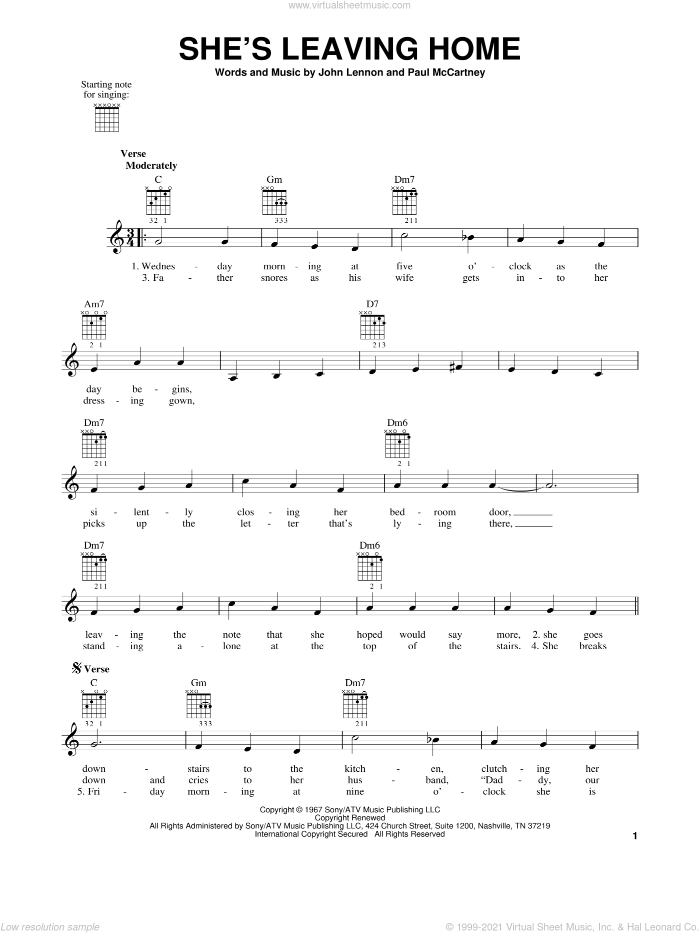 She's Leaving Home sheet music for guitar solo (chords) by The Beatles, John Lennon and Paul McCartney, easy guitar (chords). Score Image Preview.