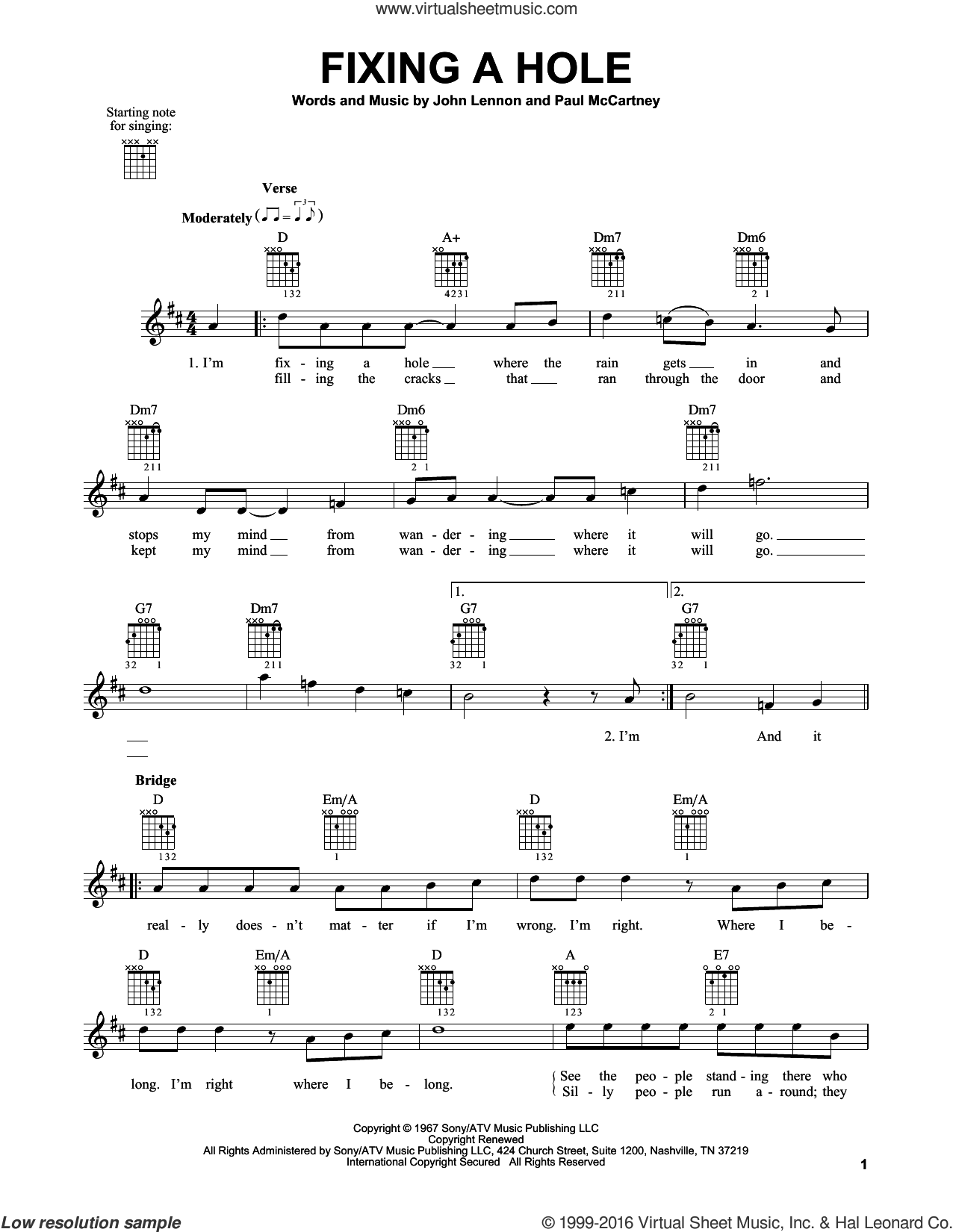 Fixing A Hole sheet music for guitar solo (chords) by The Beatles, John Lennon and Paul McCartney, easy guitar (chords)