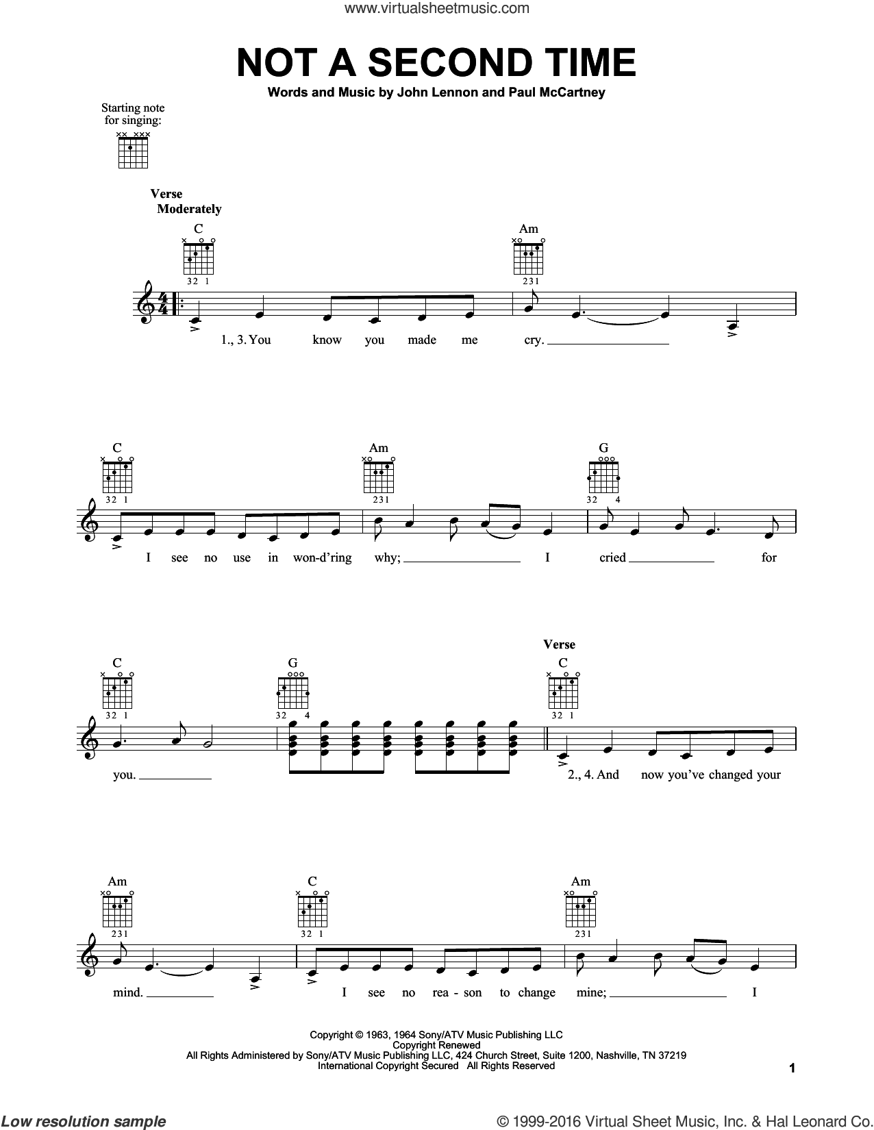 Not A Second Time sheet music for guitar solo (chords) by Paul McCartney, The Beatles and John Lennon. Score Image Preview.