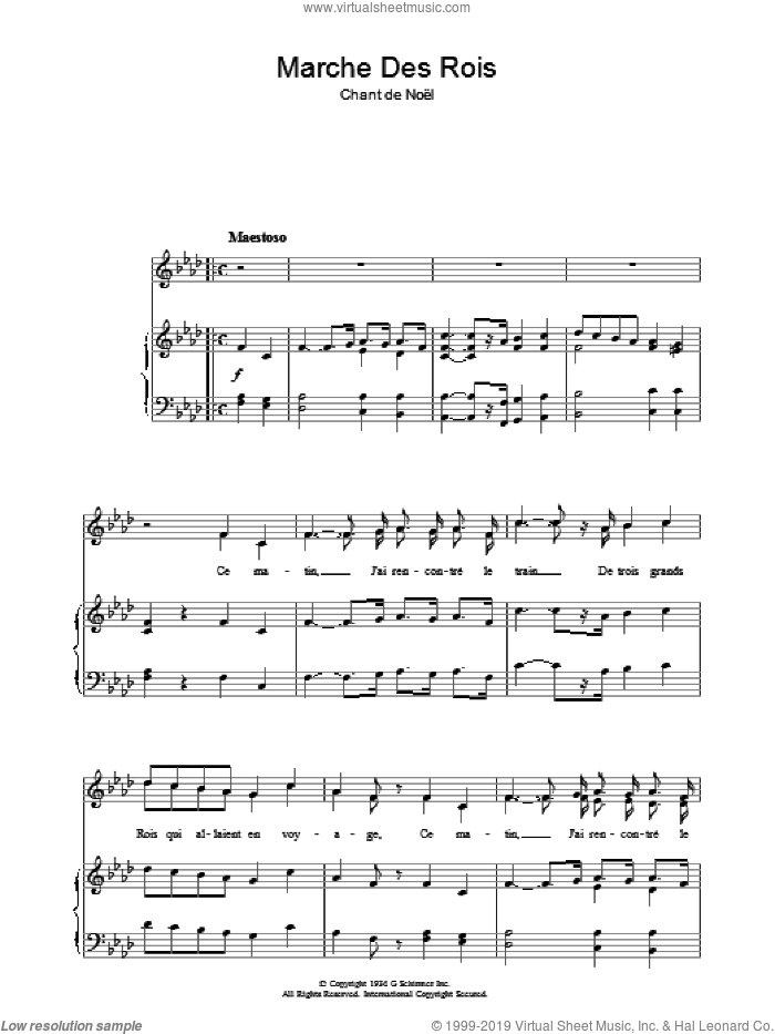 Marche Des Rois sheet music for voice, piano or guitar  and Chant De Noel, intermediate. Score Image Preview.