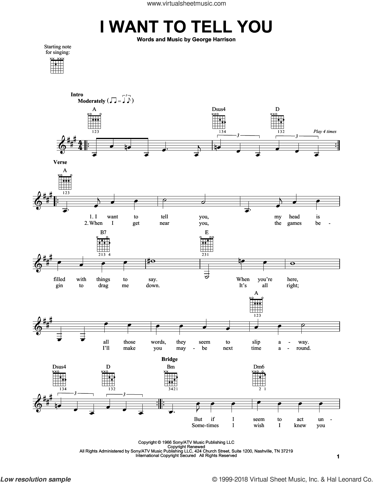 I Want To Tell You sheet music for guitar solo (chords) by The Beatles and George Harrison, easy guitar (chords). Score Image Preview.