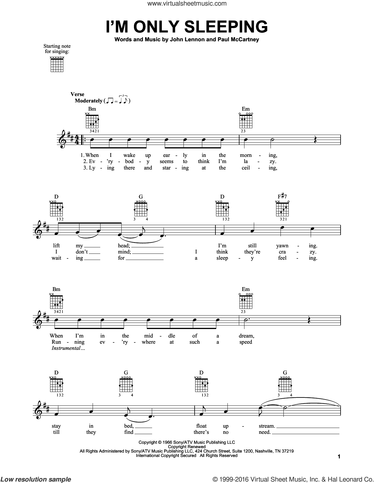 I'm Only Sleeping sheet music for guitar solo (chords) by The Beatles, John Lennon and Paul McCartney, easy guitar (chords)